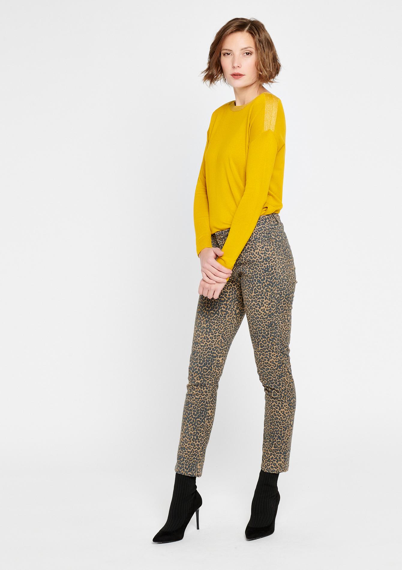 Pantalon imprimé léopard - BEIGE OAK - 930027