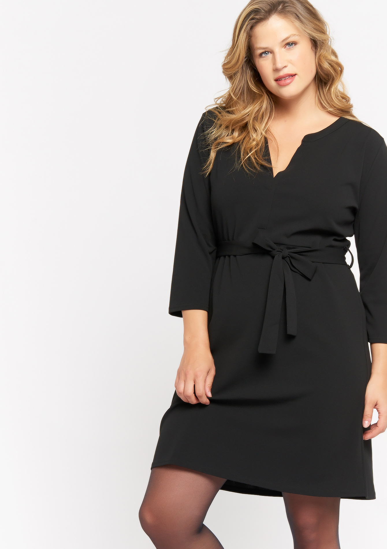 Straight dress with belt - BLACK - 08102361_1119