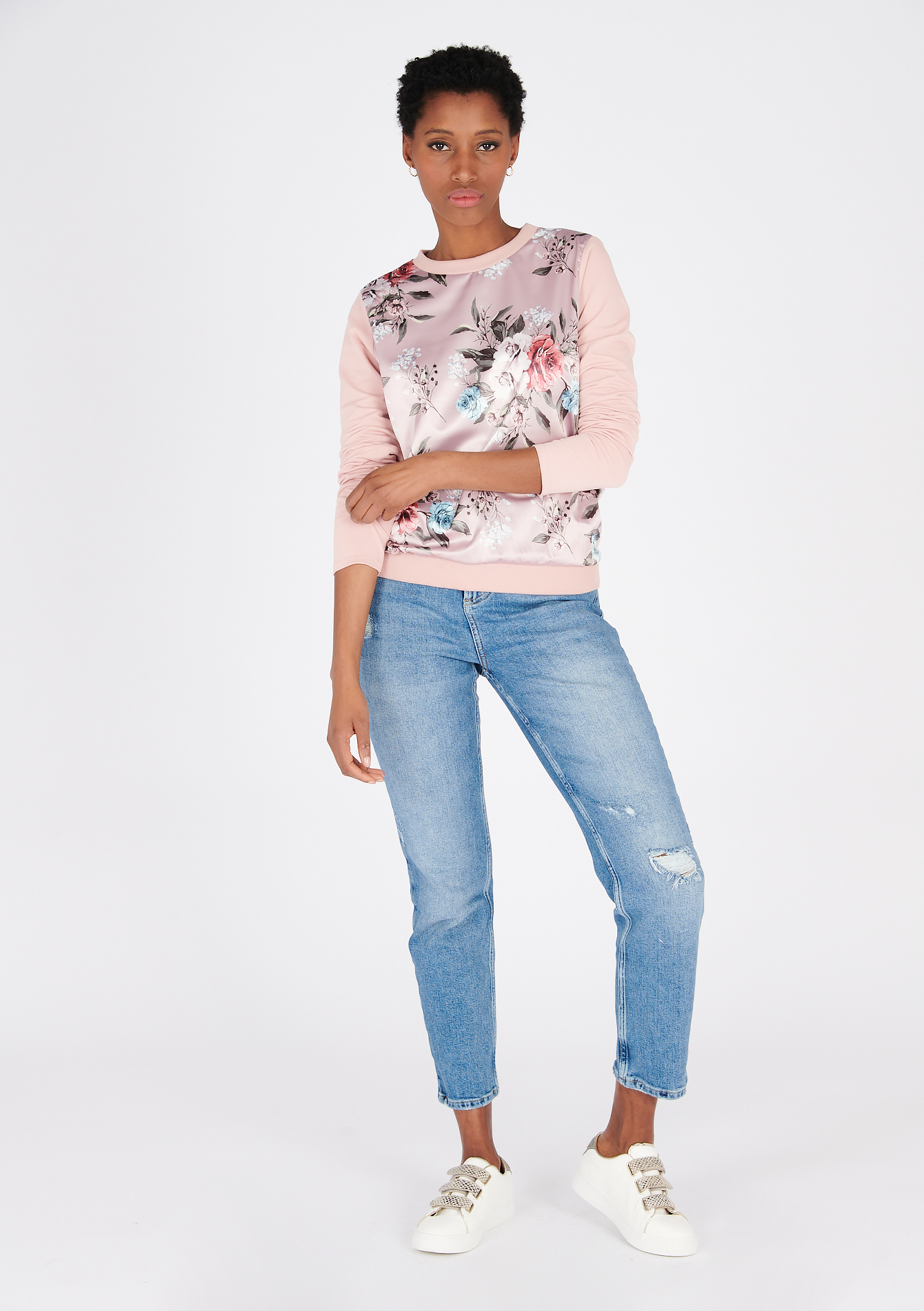 Sweater met satijn en bloemenprint - PALE NUDE - 03001636_4111