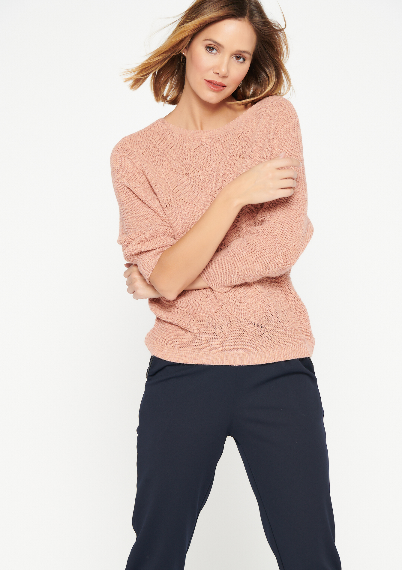 Pull manches chauve-souris et col rond - PINK COSMIC - 04005336_4113