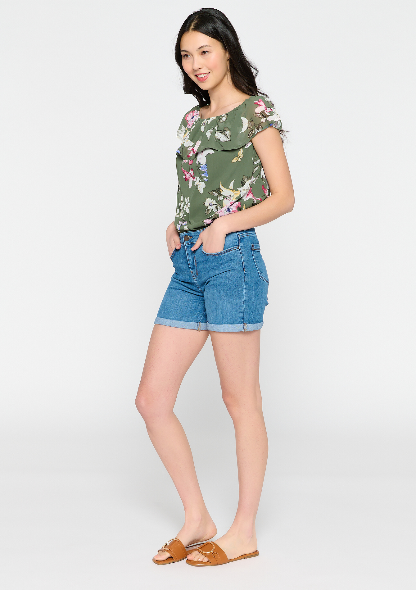 Jeans shorts met omslag - MEDIUM BLUE - 22000271_500