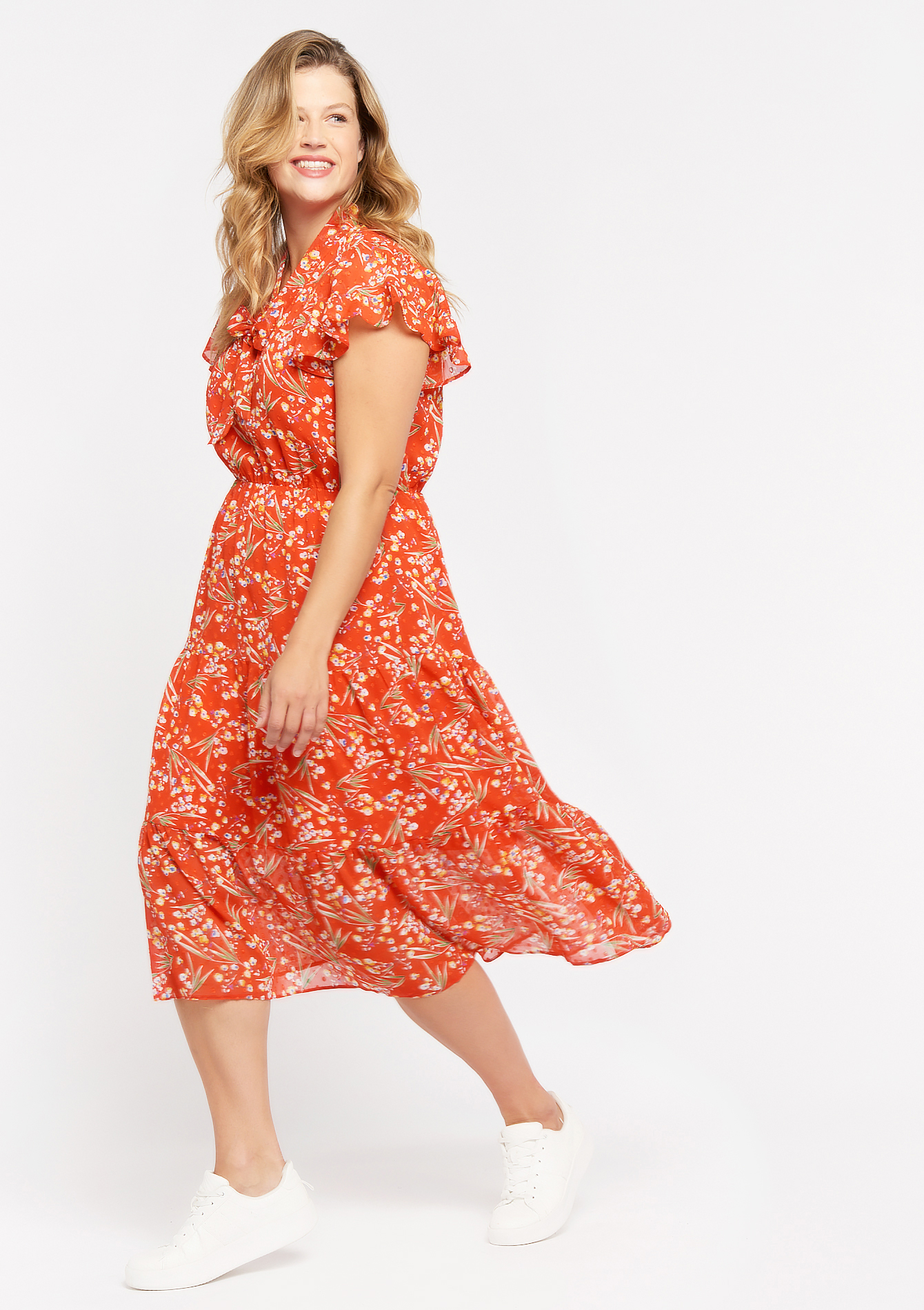 Midi floral dress - POPPY RED - 08102291_1400