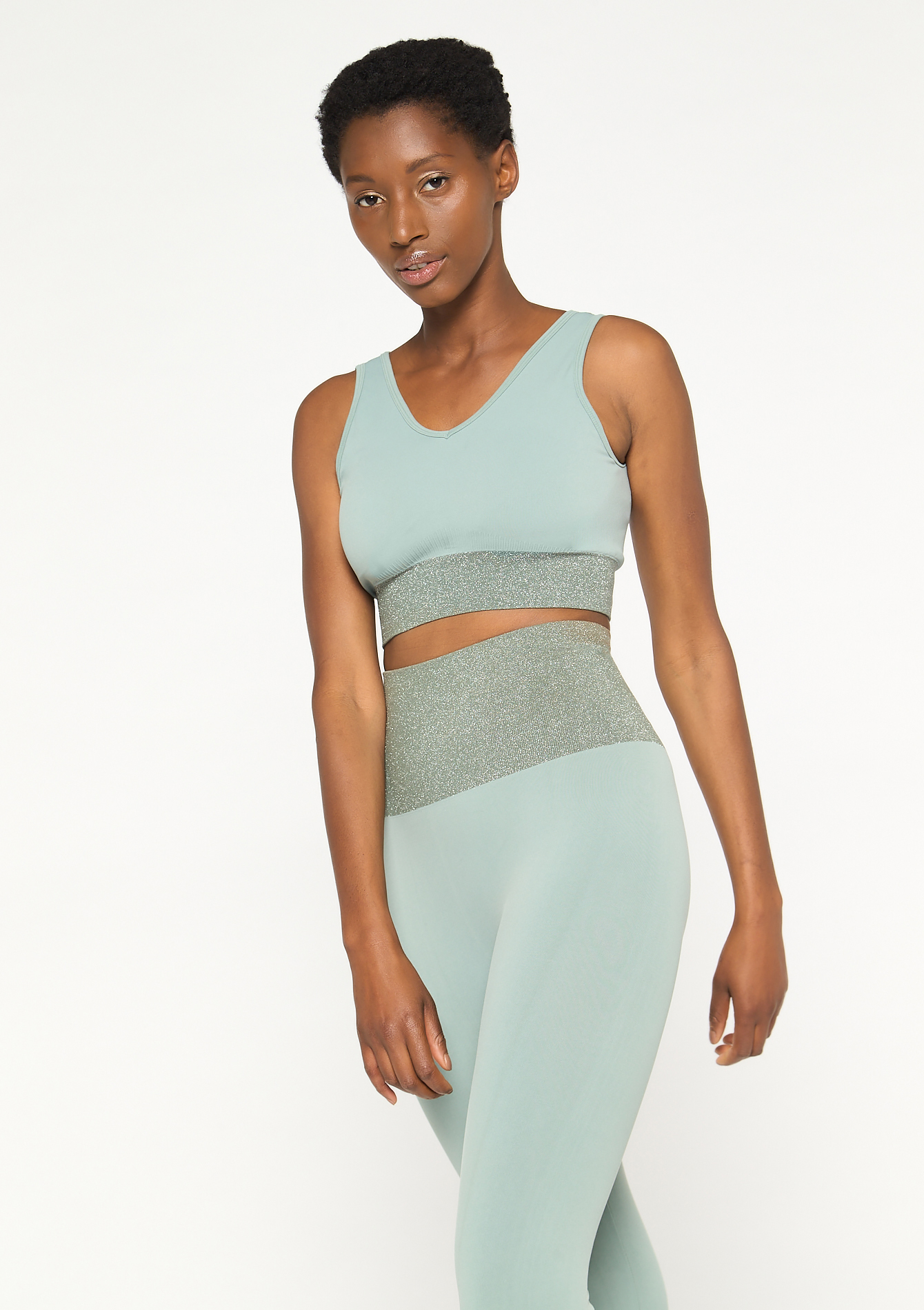 Sportbeha met lurex - ALMOND GREEN - 15000499_1724