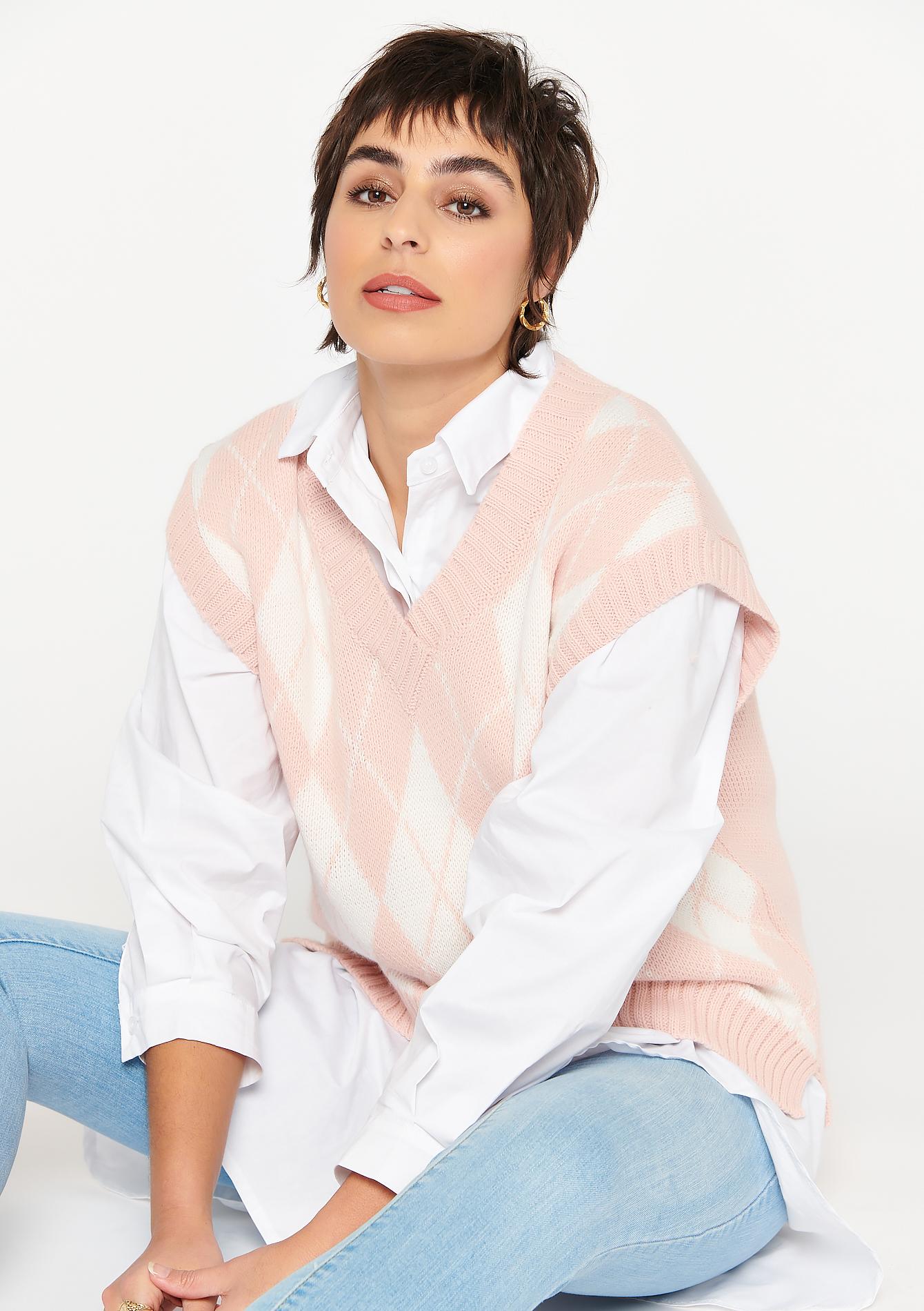 Débardeur tricot à carreaux - LolaLiza - Modalova