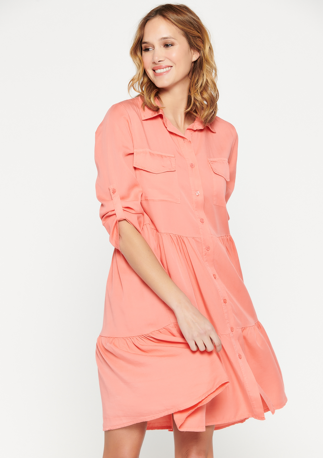 Shirt dress with pleats and buttons - CORAL EMBERGLOW - 08102470_5404
