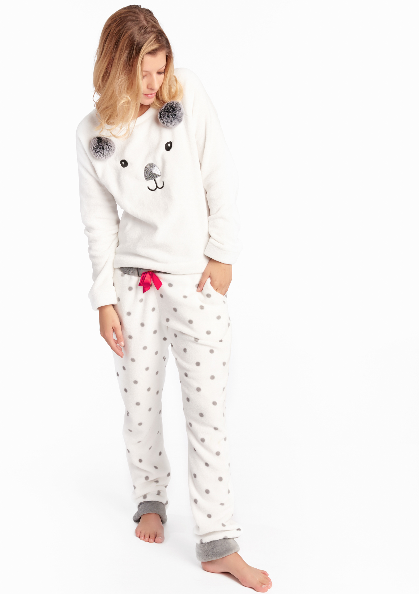Fleece pyjama set - OFFWHITE - 15000406_1001