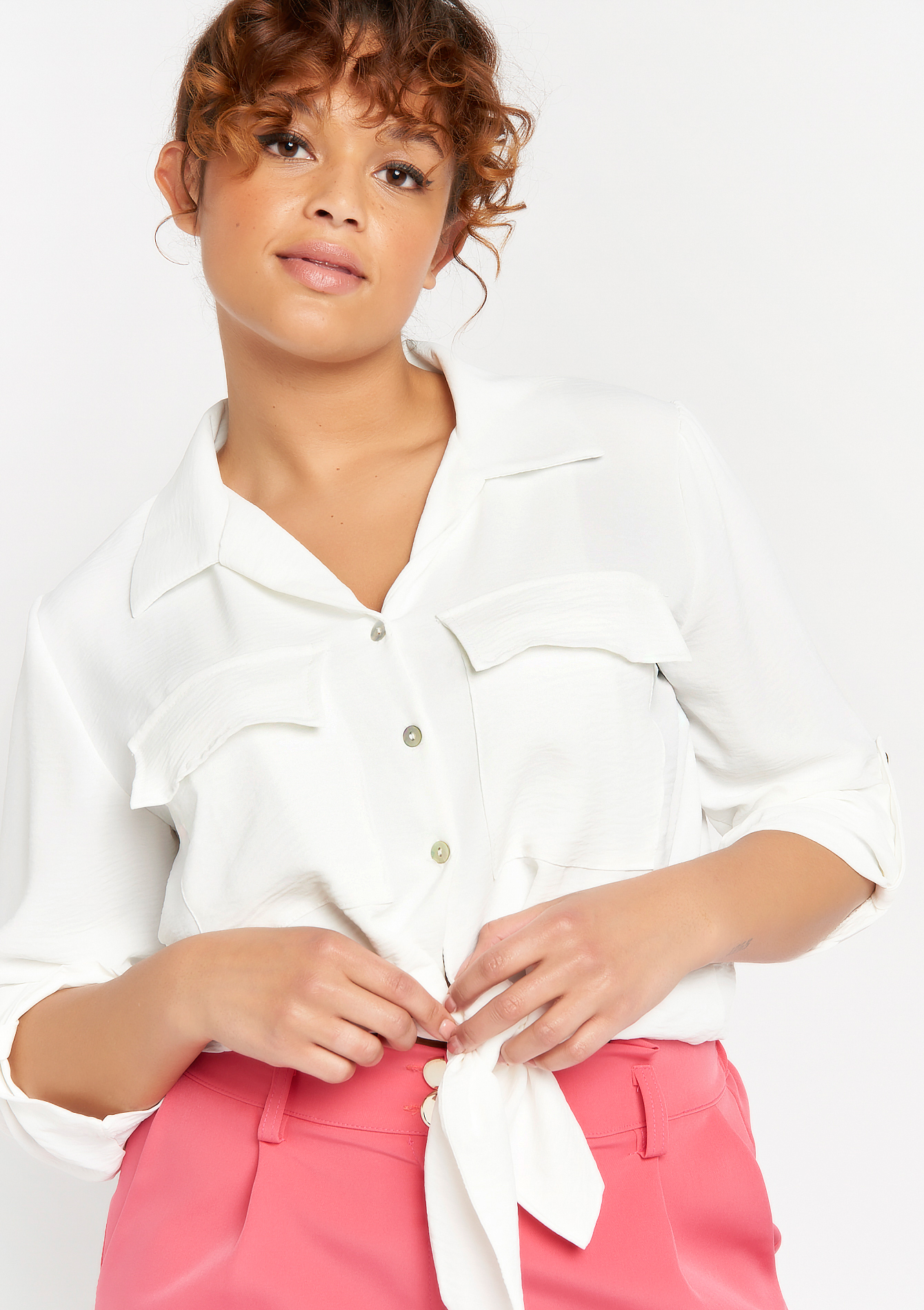 Chemise avec manches 3/4 et boutons - NATURAL WHITE - 05701625_2510