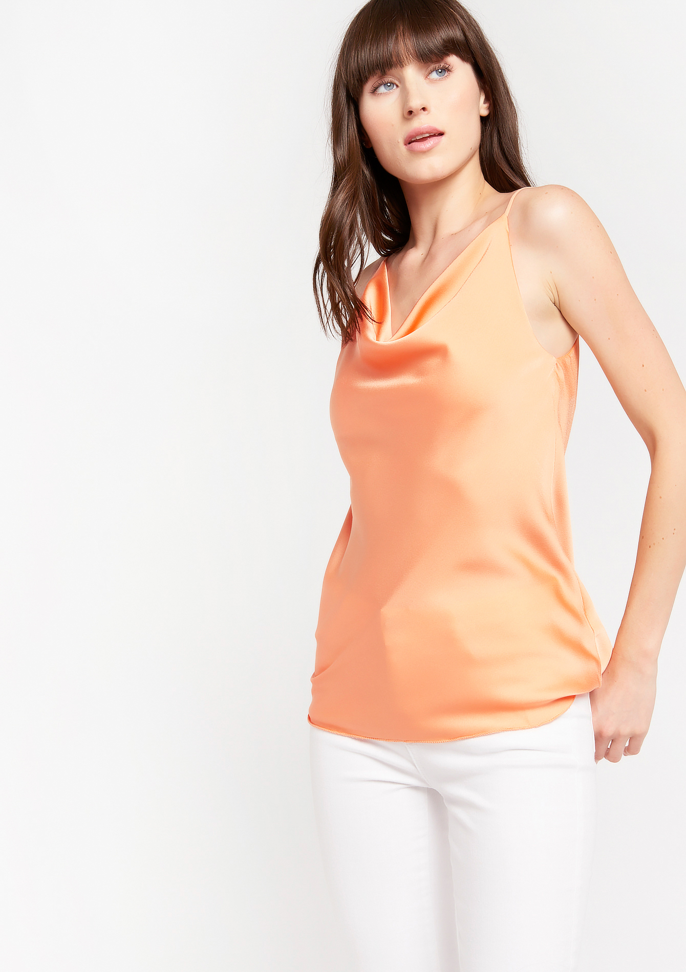 Top en satin à bretelles fines - PEACHY PINK - 05701441_1335
