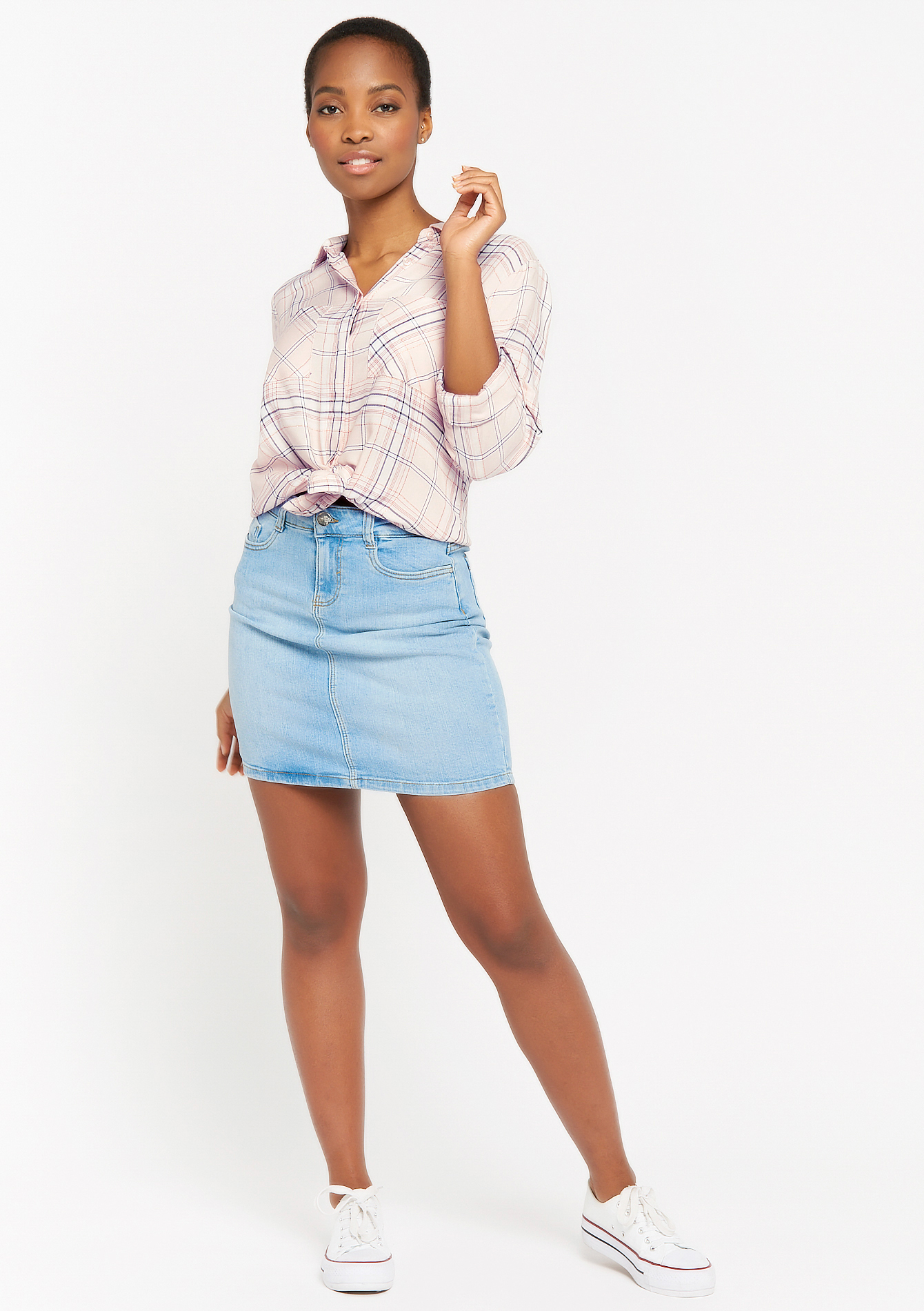 Checkered shirt with pockets - PINK BLOSSOM - 05701570_1310