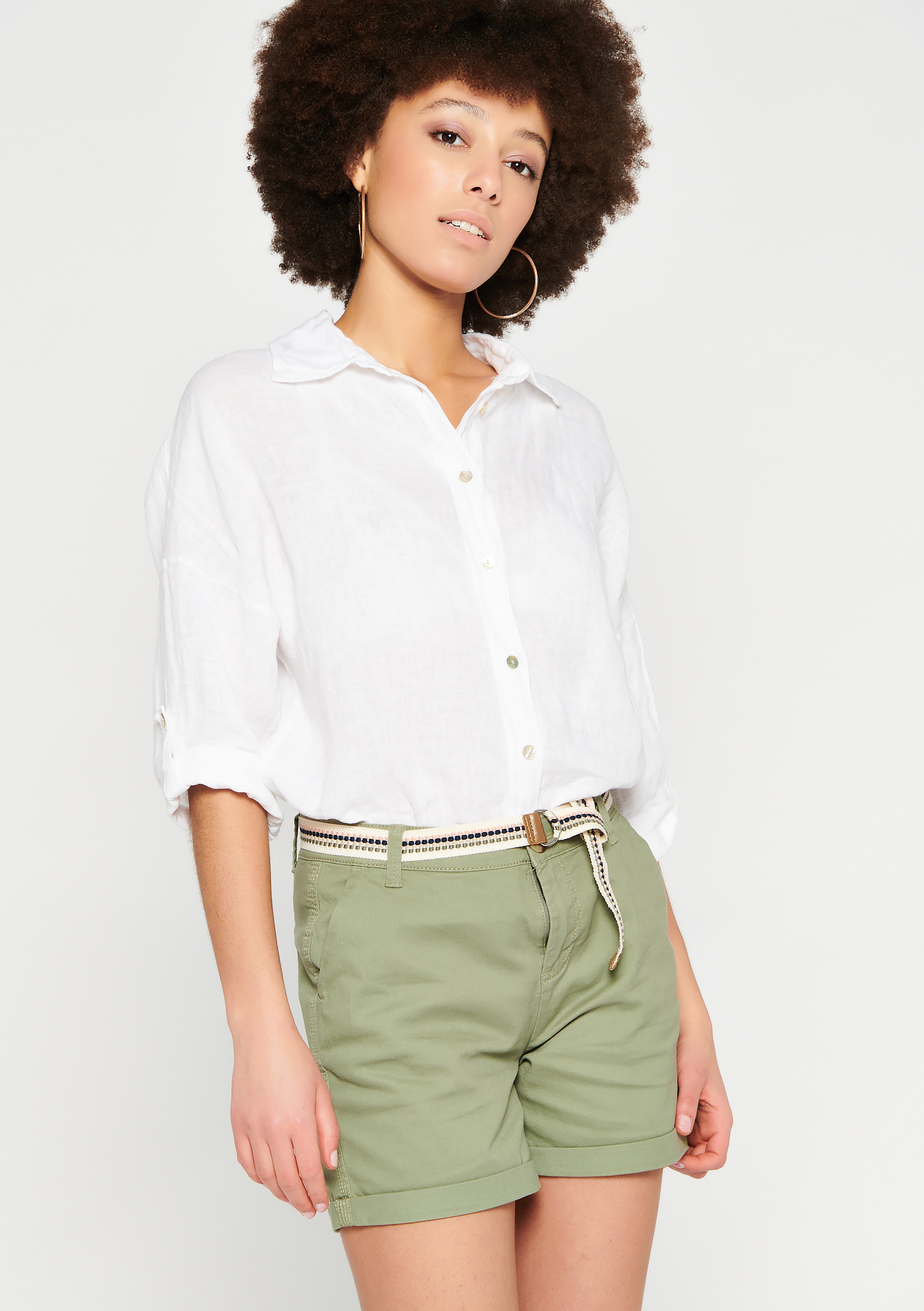 Blouse en lin à manches 3/4 - NATURAL WHITE - 05701635_2510