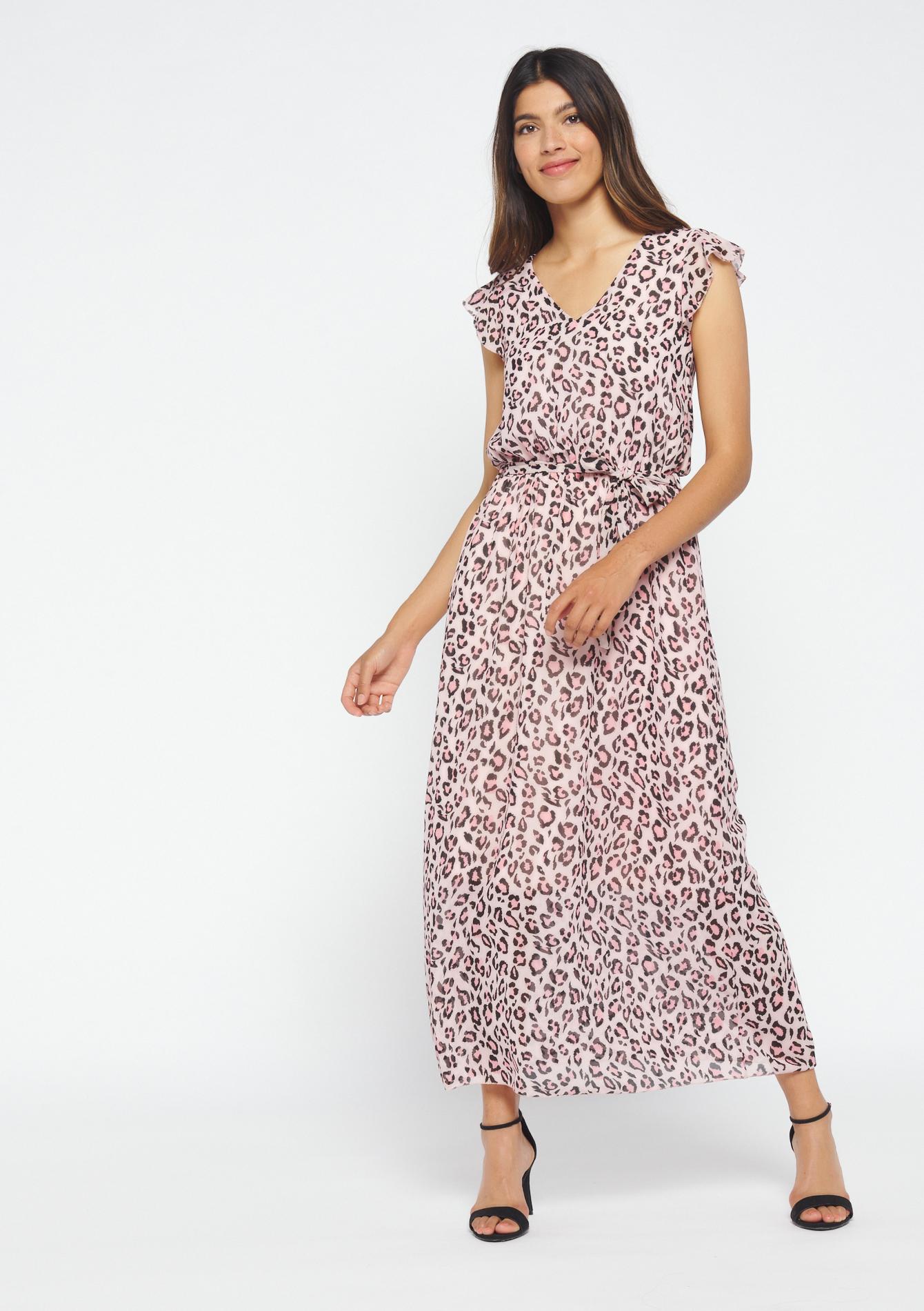 Lange jurk met luipaardmotief - PEARL BLUSH - 08600318_1333