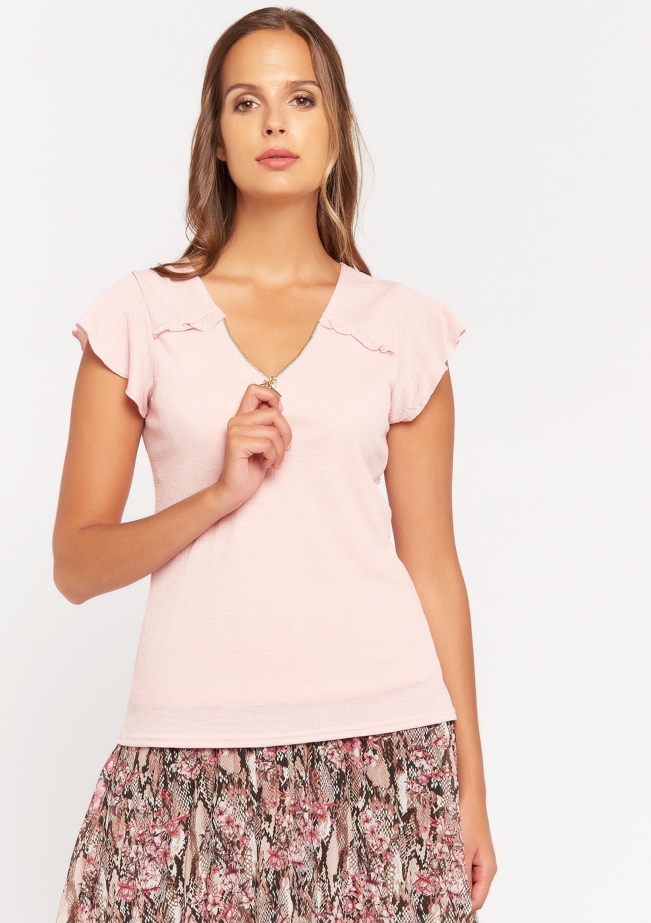 V-neck T-shirt - NUDE PINK - 02200200_1301