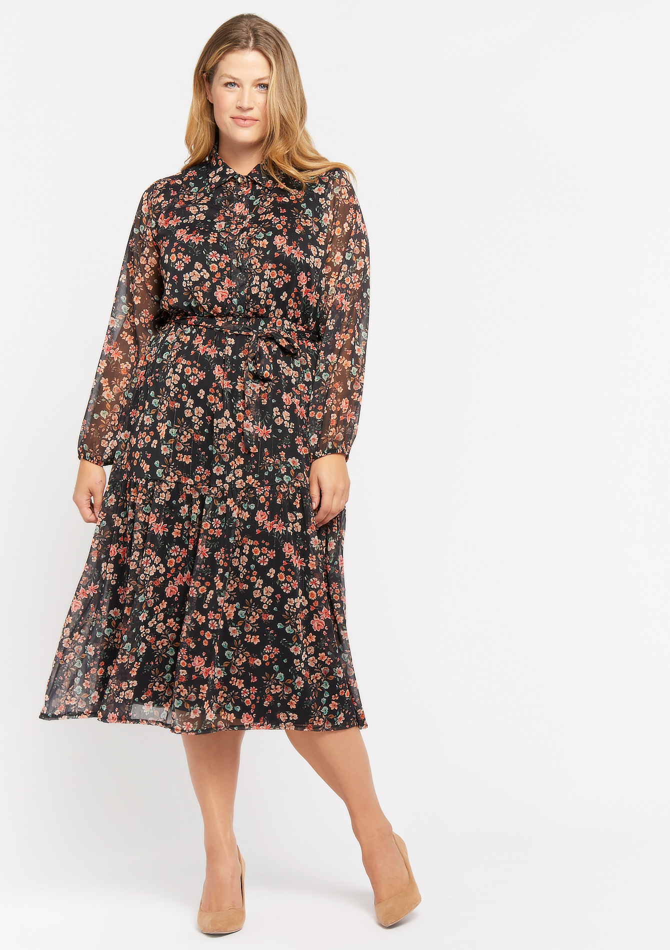 Maxi hemdjurk met bloemenprint - BLACK BEAUTY - 08601230_2600