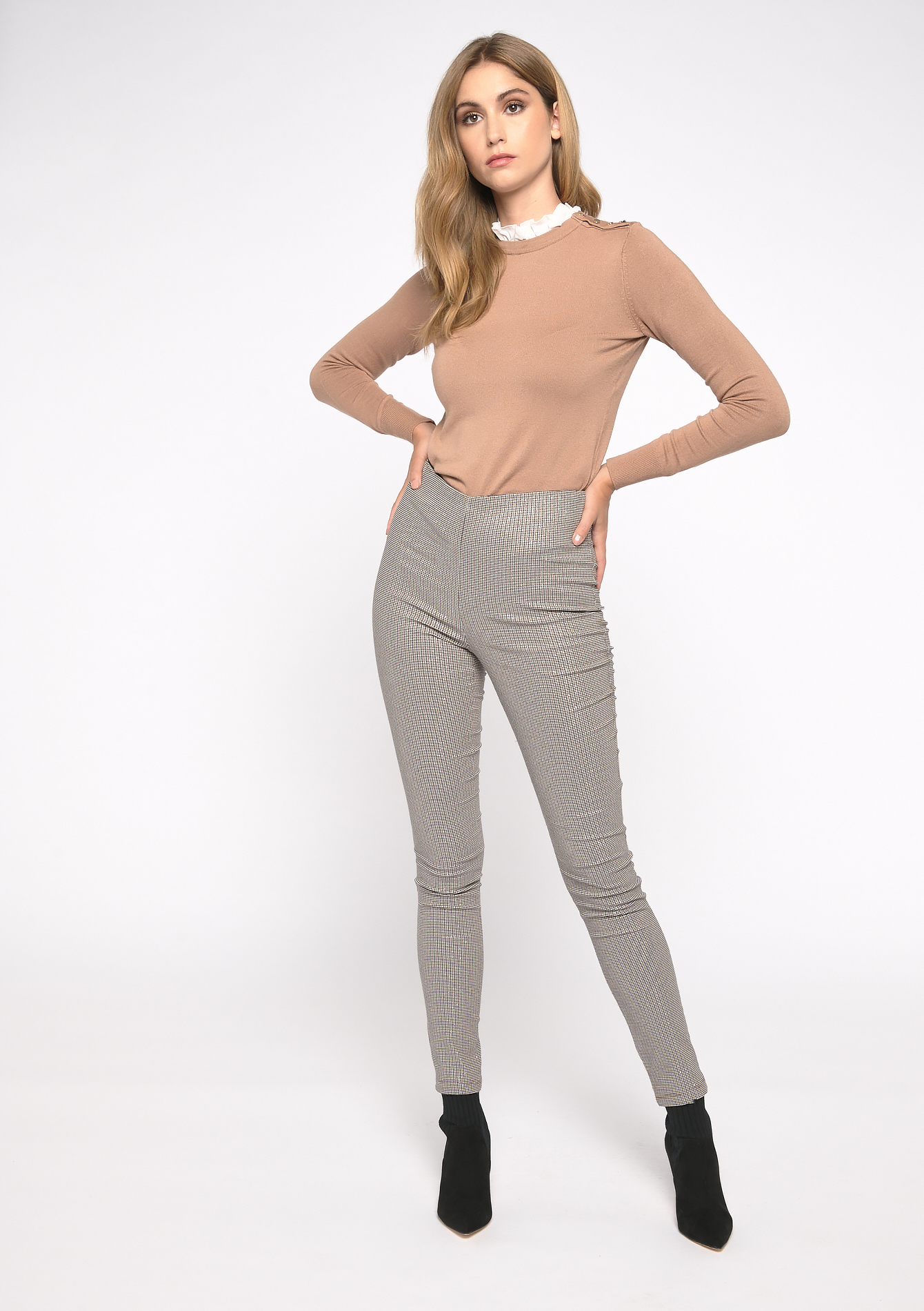 Legging à carreaux Prince de Galles - CAMEL ALMOND - 06003987_3807