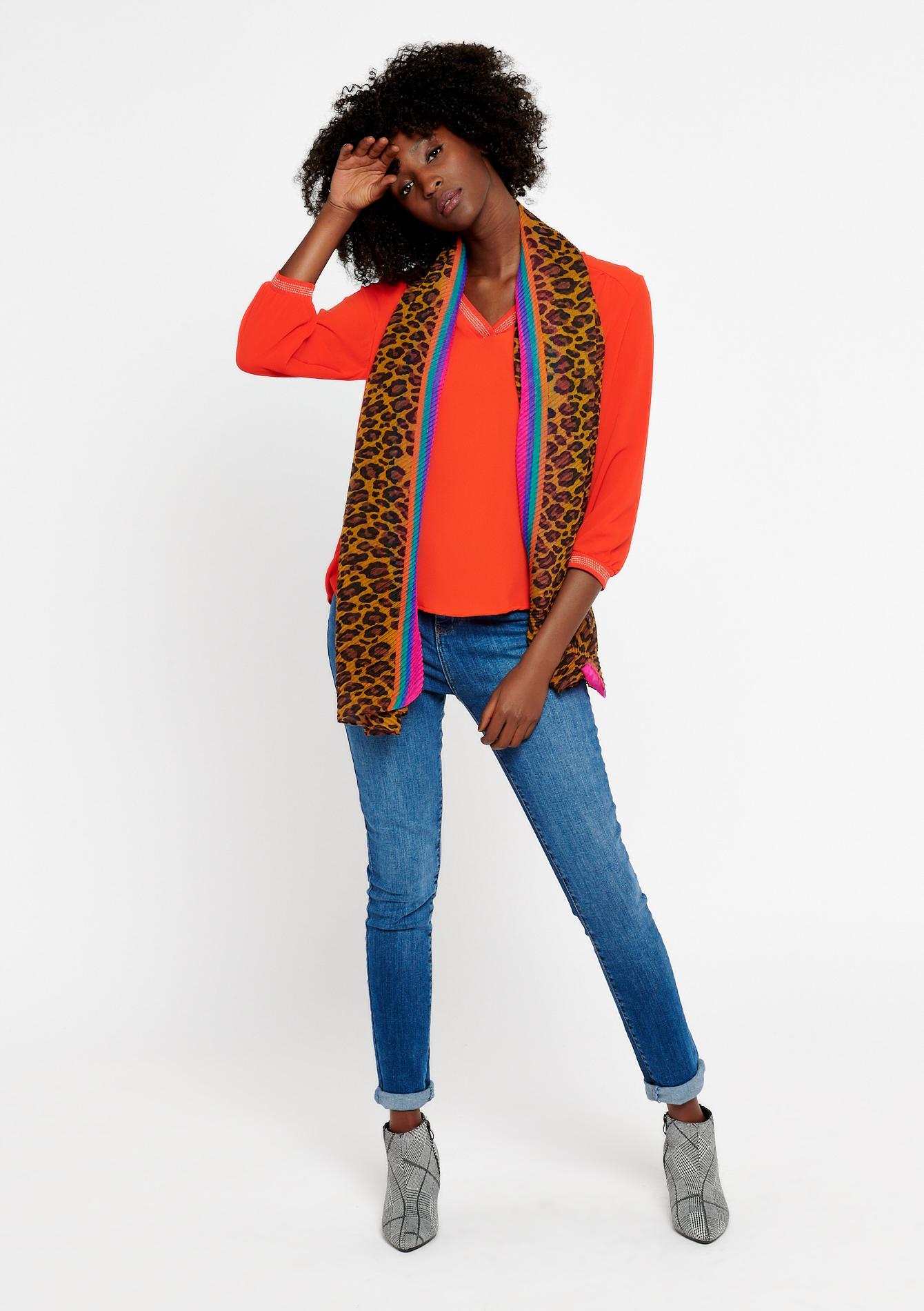 foulard plisée leopard colorful edge - CAMEL TRUSH - 930257