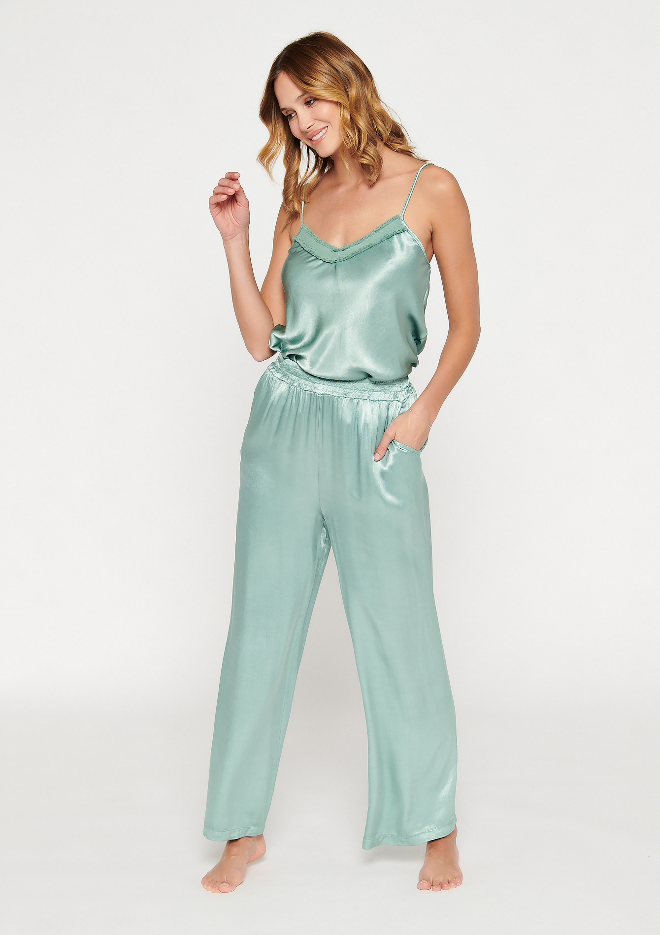 Pantalon de pyjama en satin - ALMOND GREEN - 15100149_1724