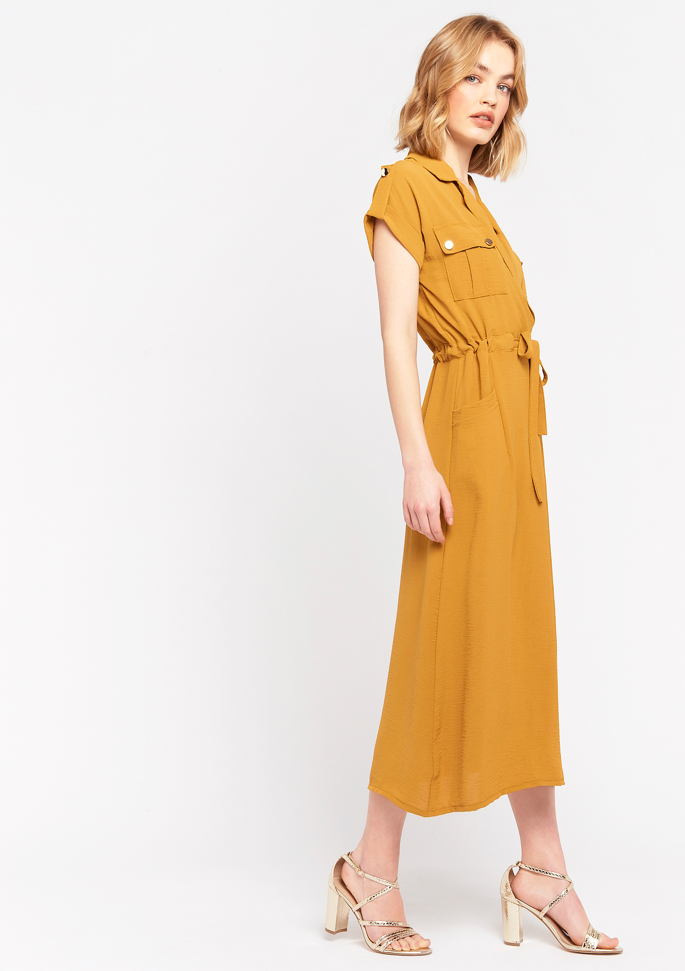 Maxi dress with belt and long collar - OCHRE SPICE  - 08601286_5102