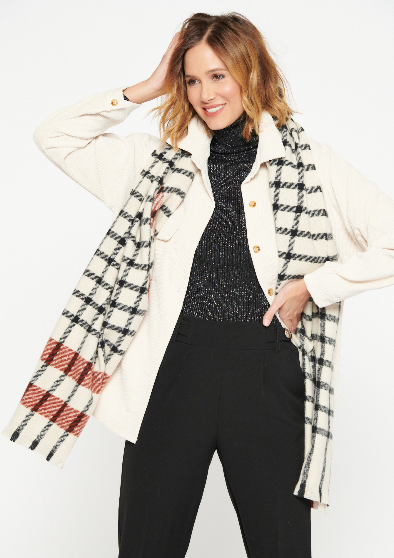 Chequered scarf - OFFWHITE - 1004010