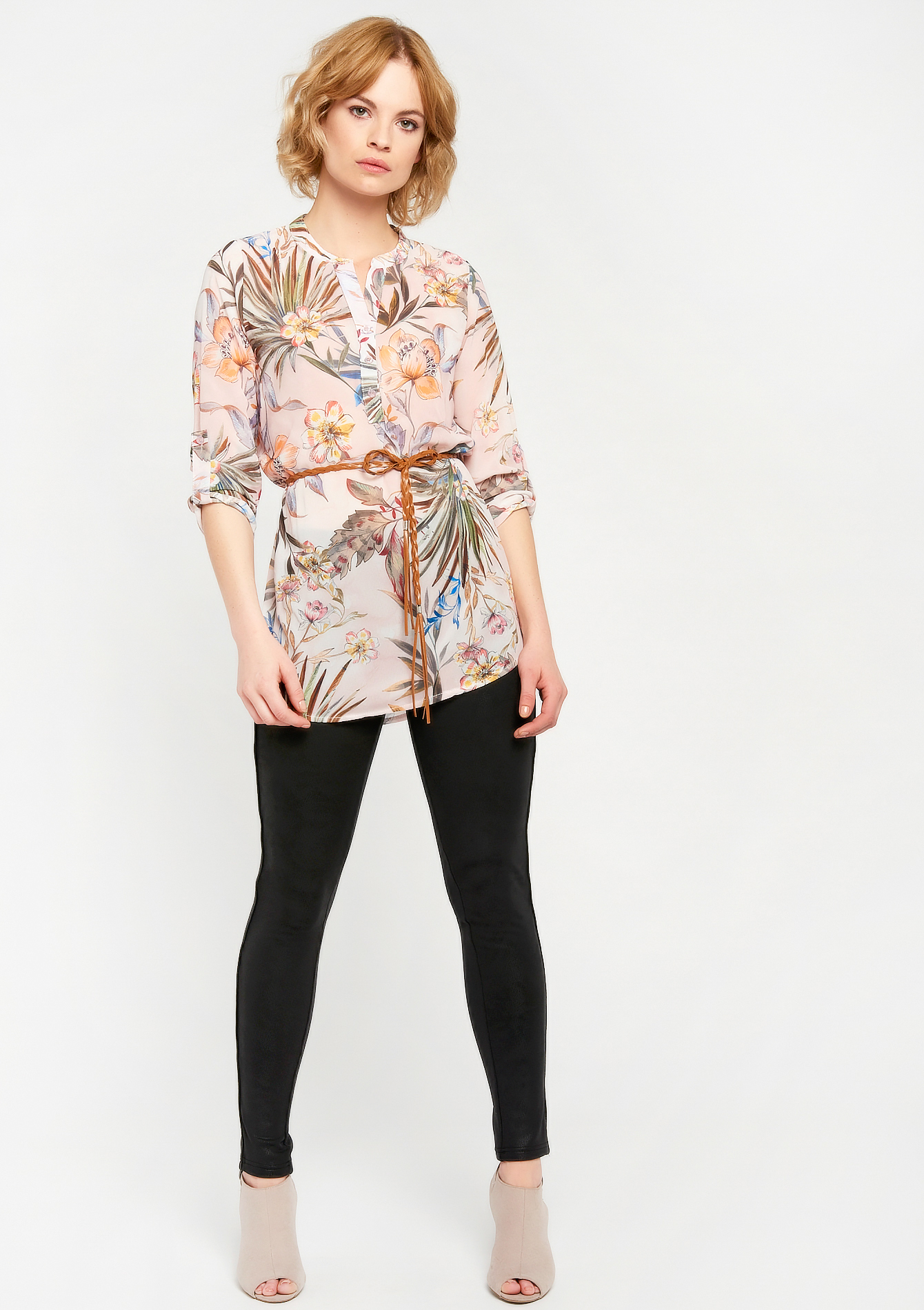 Blouse with exotic print, Mao-collar - WHITE ALYSSUM - 05700348_2502