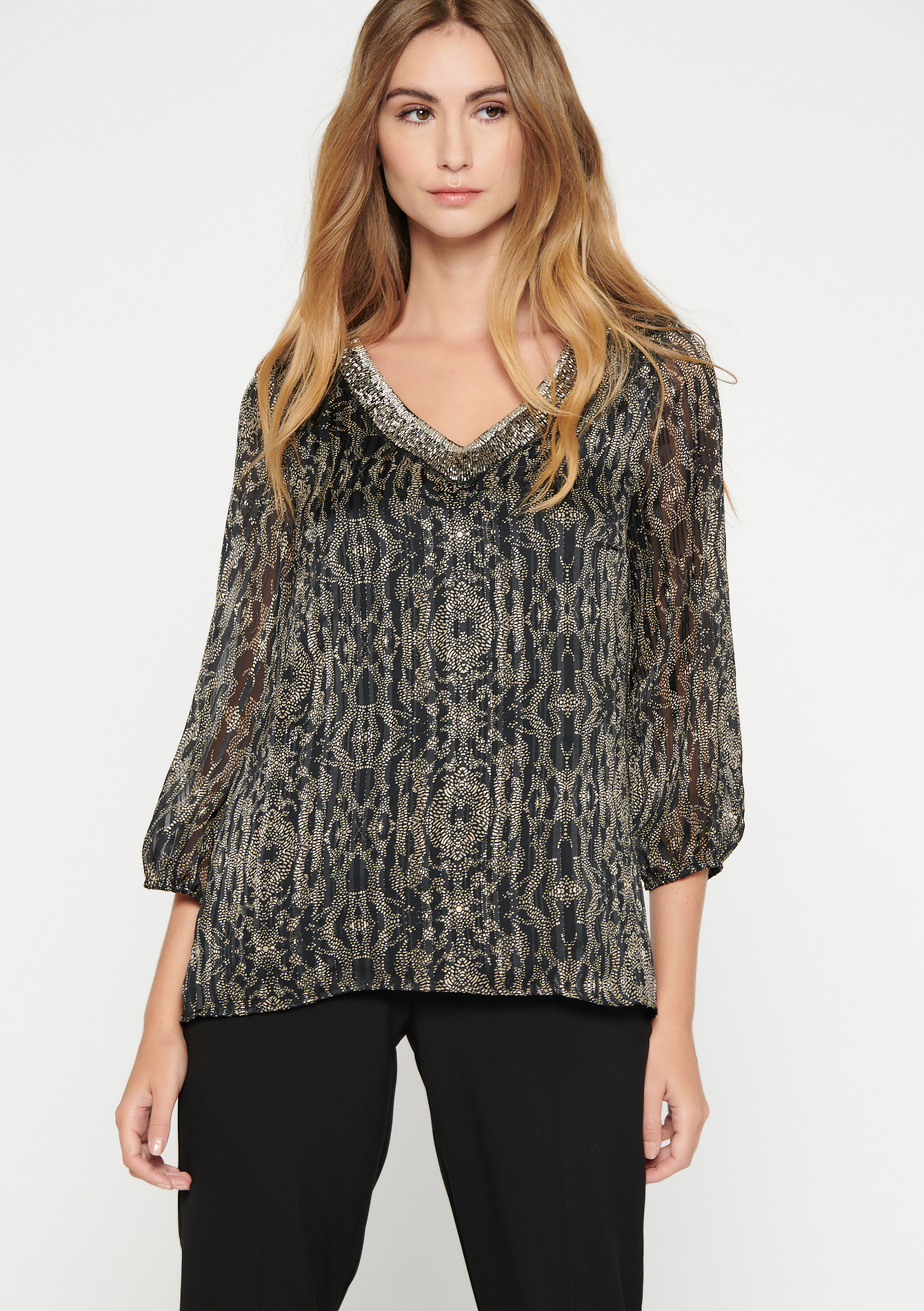 Blouse with print and trimmed neckline - BLACK - 05701543_1119