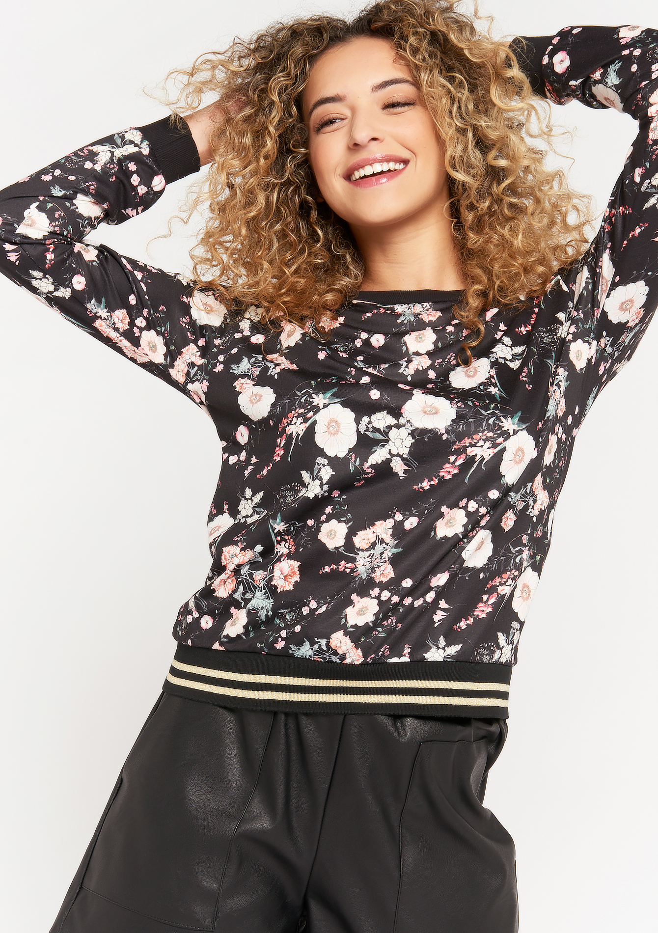 Floral lurex sweatshirt - BLACK - 03001556_1119