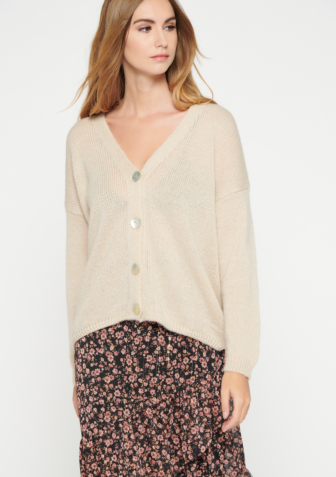 Cardigan en lurex à boutons - LIGHT BEIGE MEL - 04100799_1003