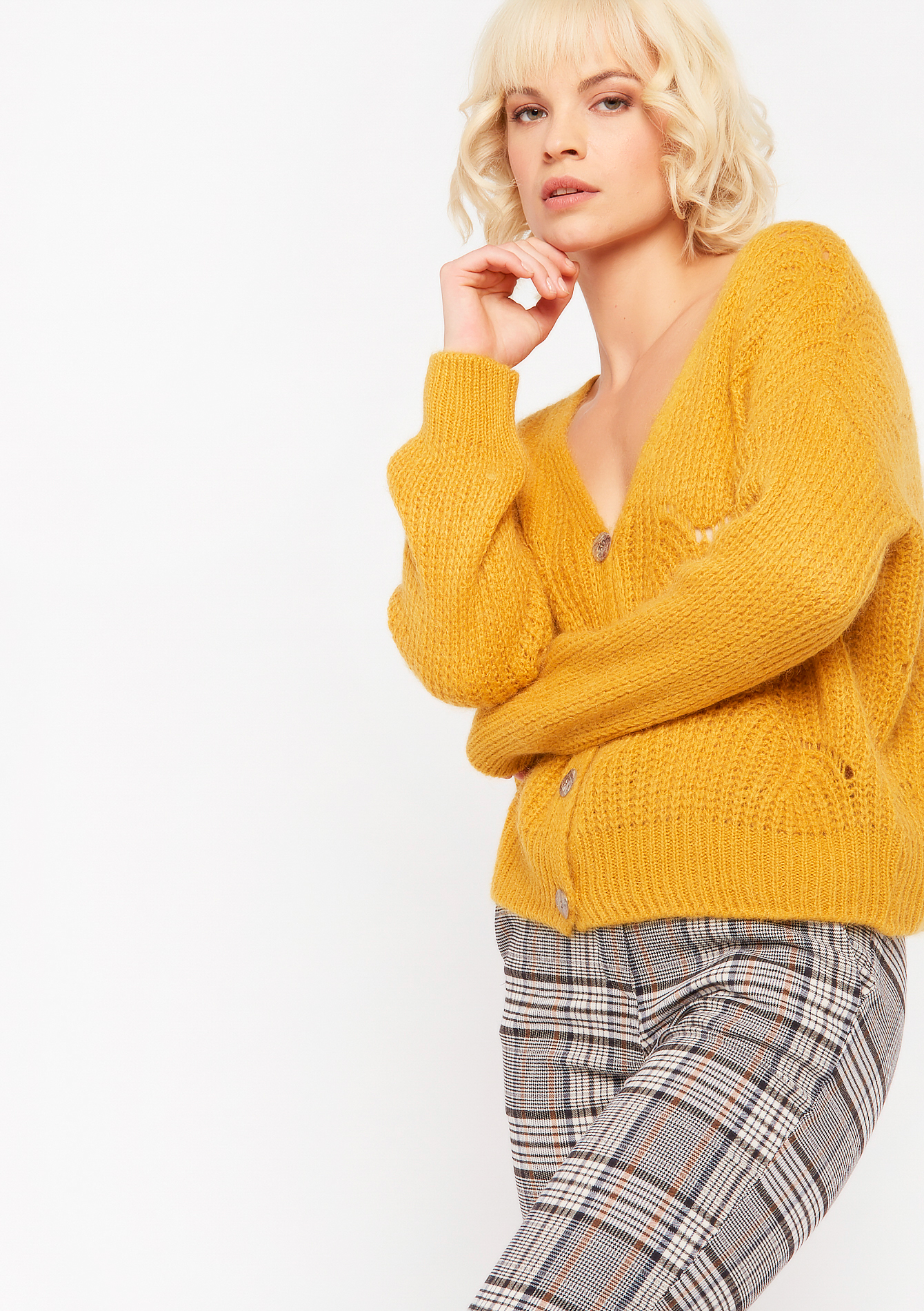 Cardigan met ajour - YELLOW MINERAL - 04100705_1222