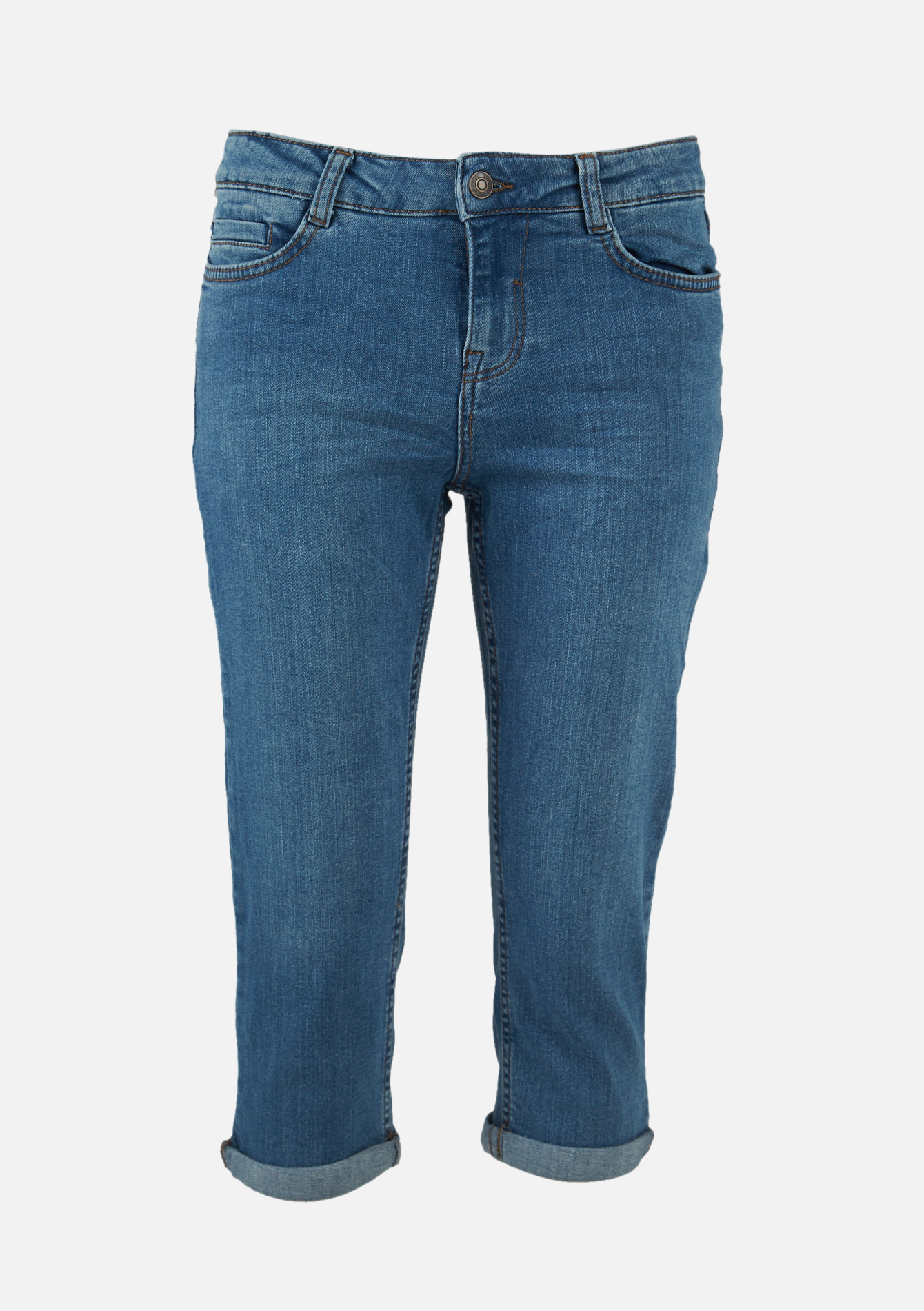 Capri en jeans à coupe droite - MEDIUM BLUE - 22000168_500