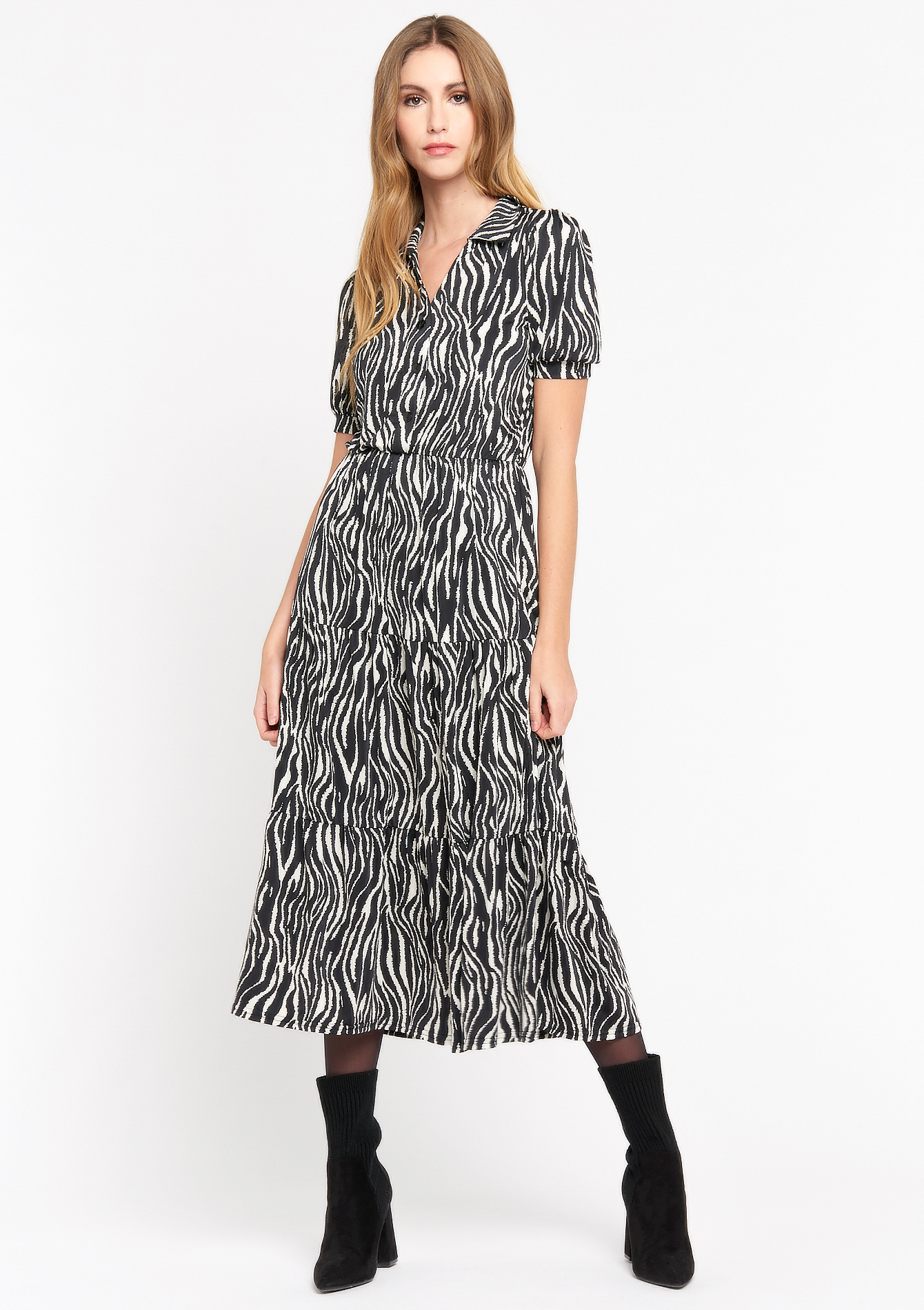 Hemdjurk met zebra print - BLACK BEAUTY - 08601276_2600