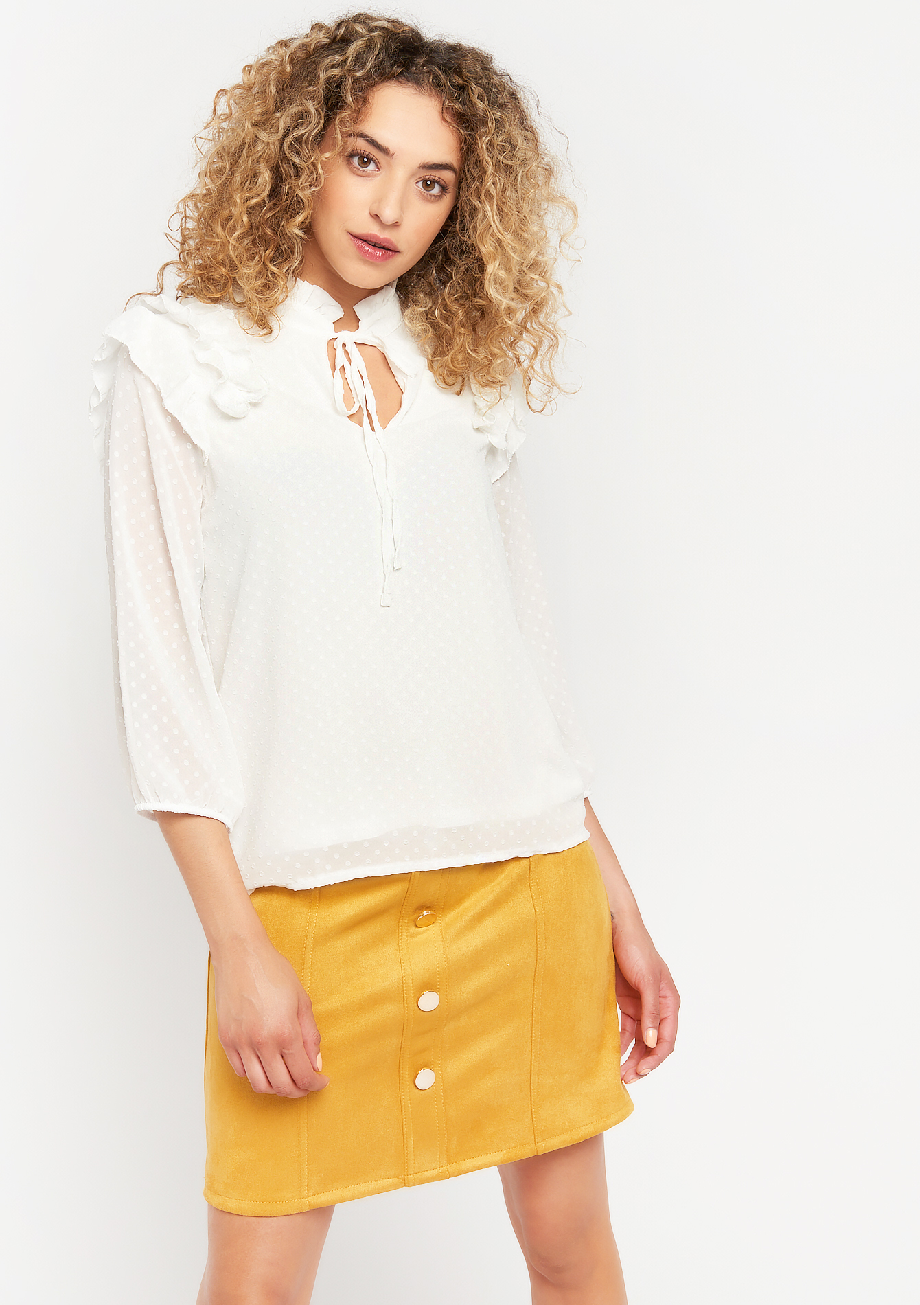 Blouse à franges et à pois - NATURAL WHITE - 05701499_2510