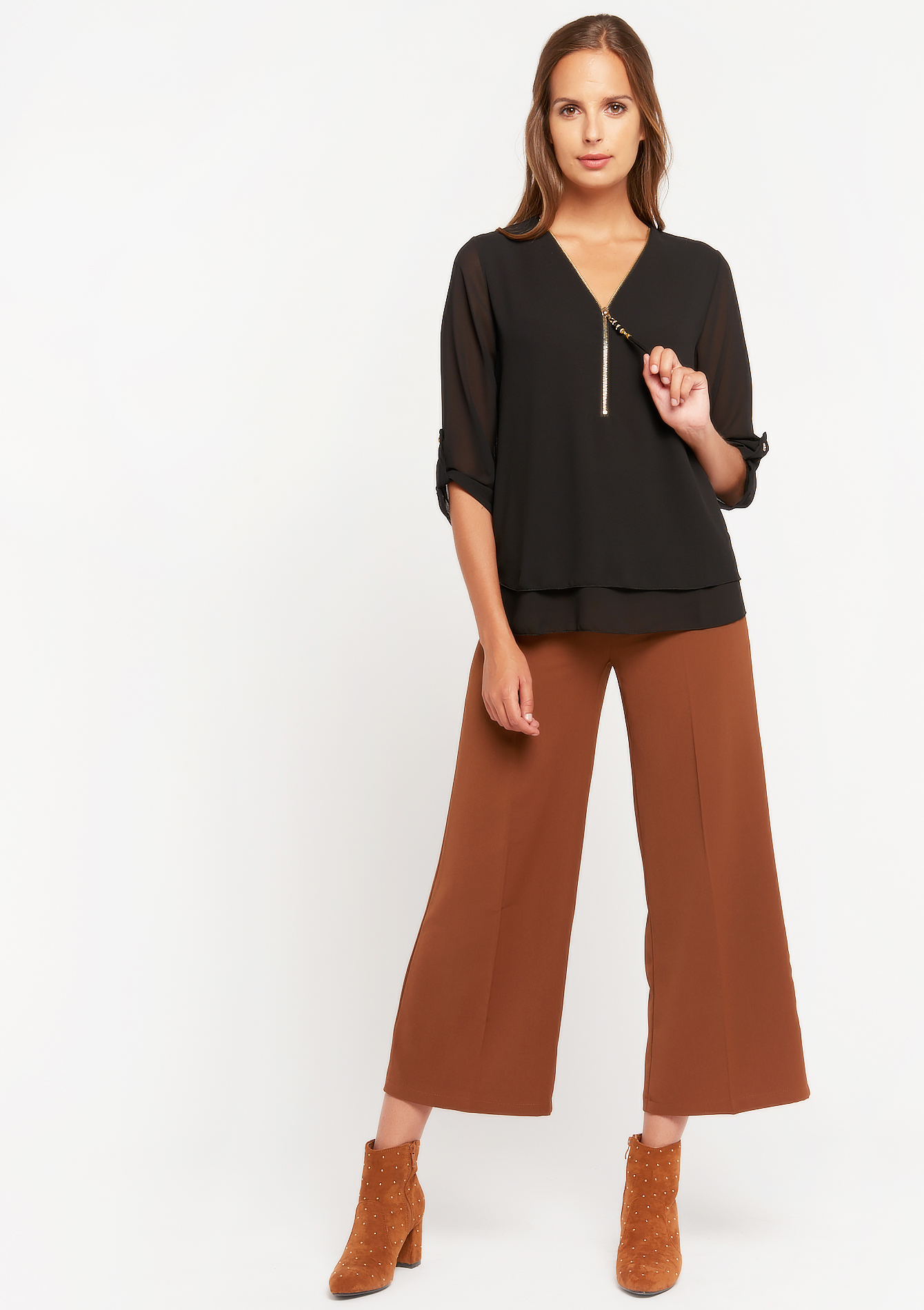Three-quarter sleeve blouse with zip - BLACK - 05701508_1119