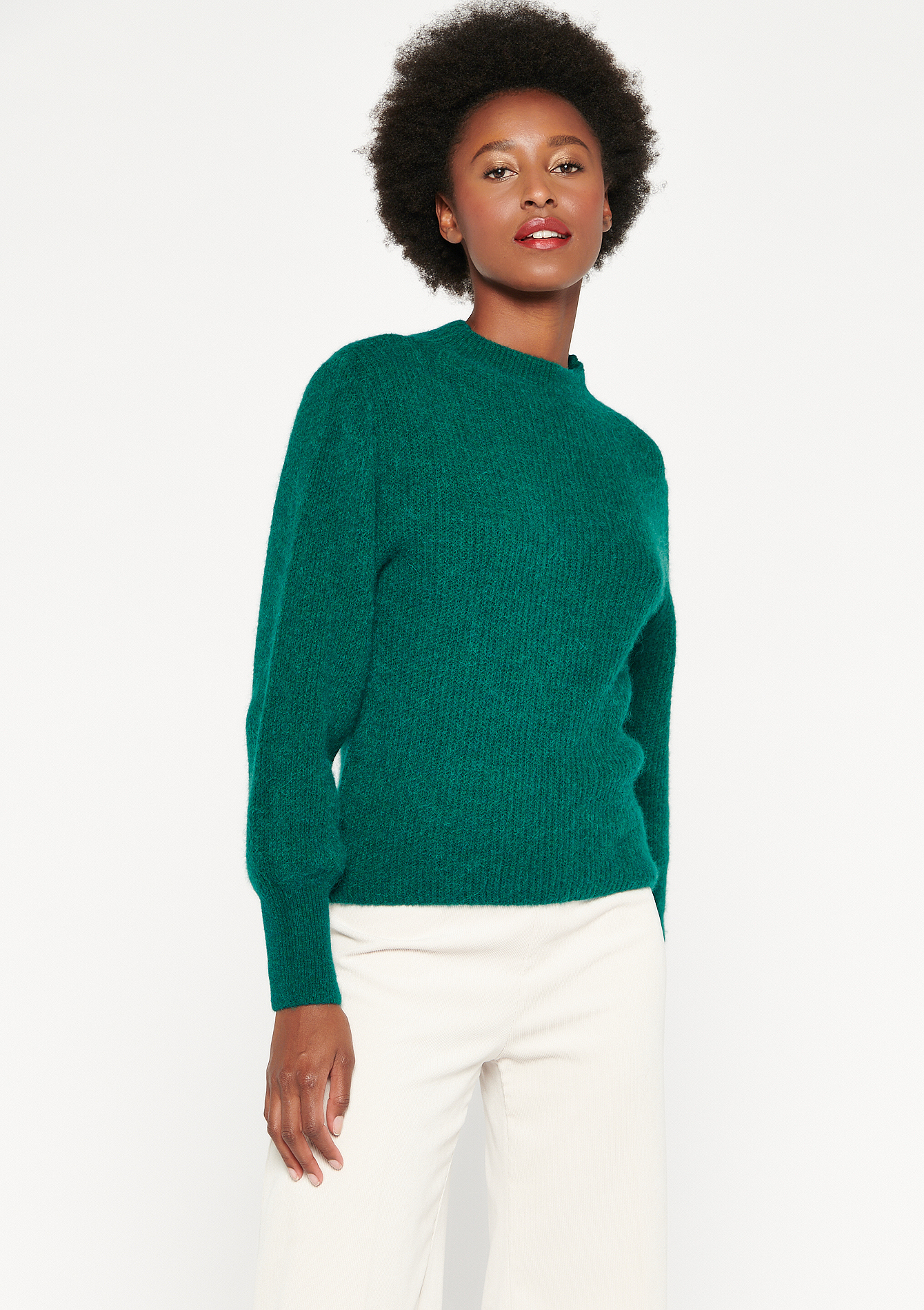 High closed neck ribbed jumper - GREEN EMERALD - 04005381_4511