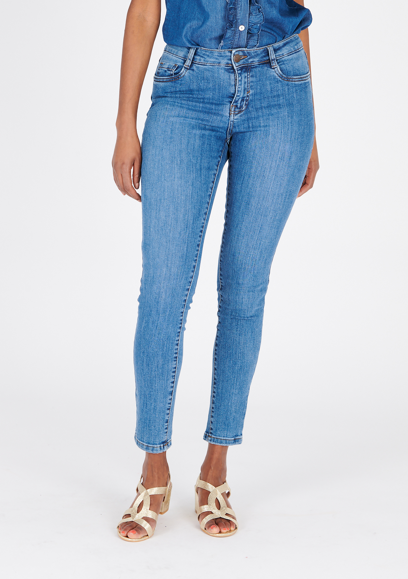 Skinny eco-wash jeans - MEDIUM BLUE - 22000262_0500