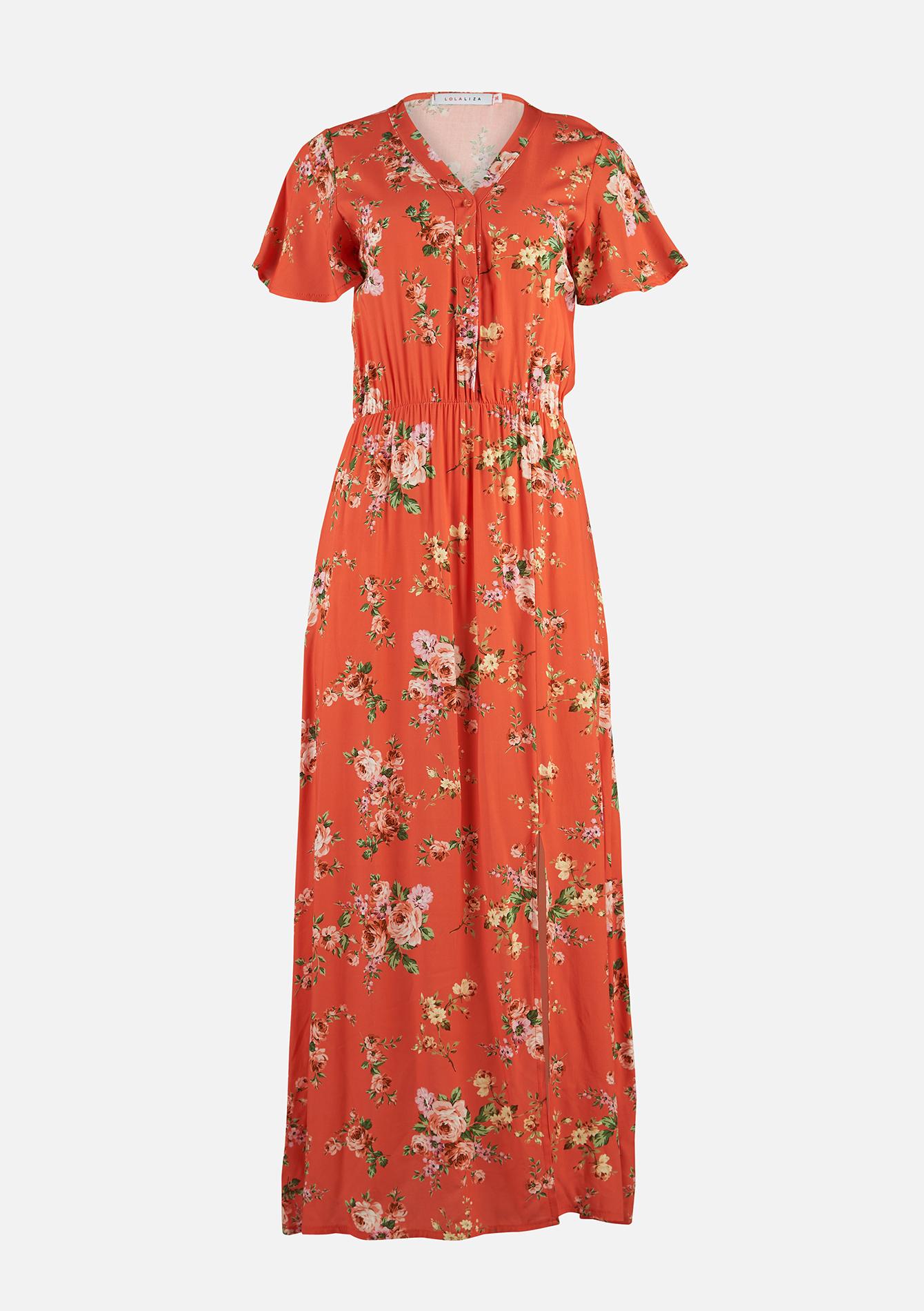 Maxi jurk met bloemenprint - CORAL SALMONE - 08601114_5409
