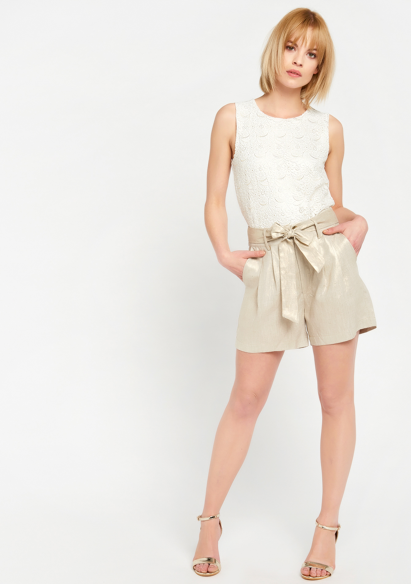 Short in linnen - SIMPLE TAUPE - 928399