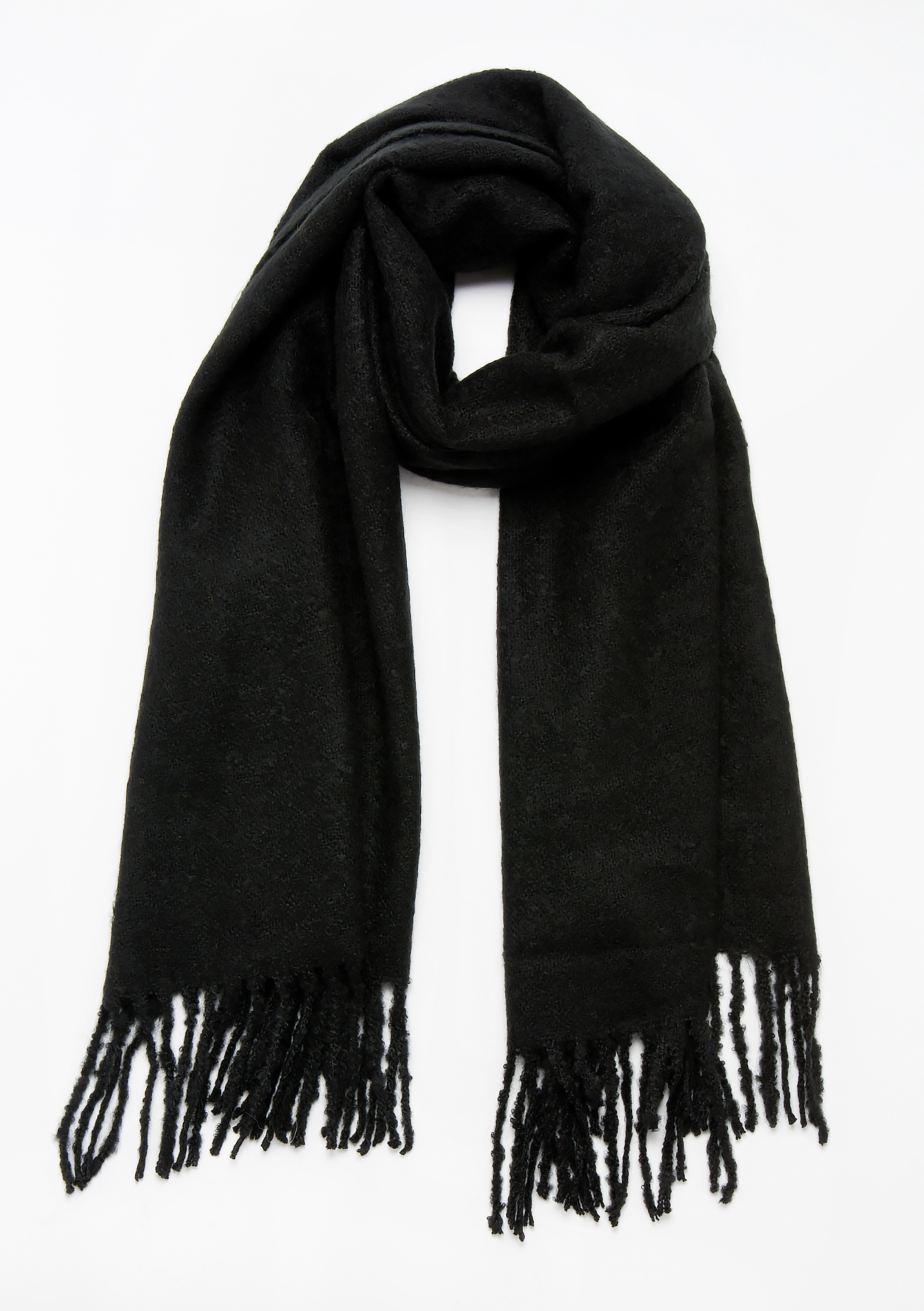 Soft scarf with fringes - BLACK - 1006527