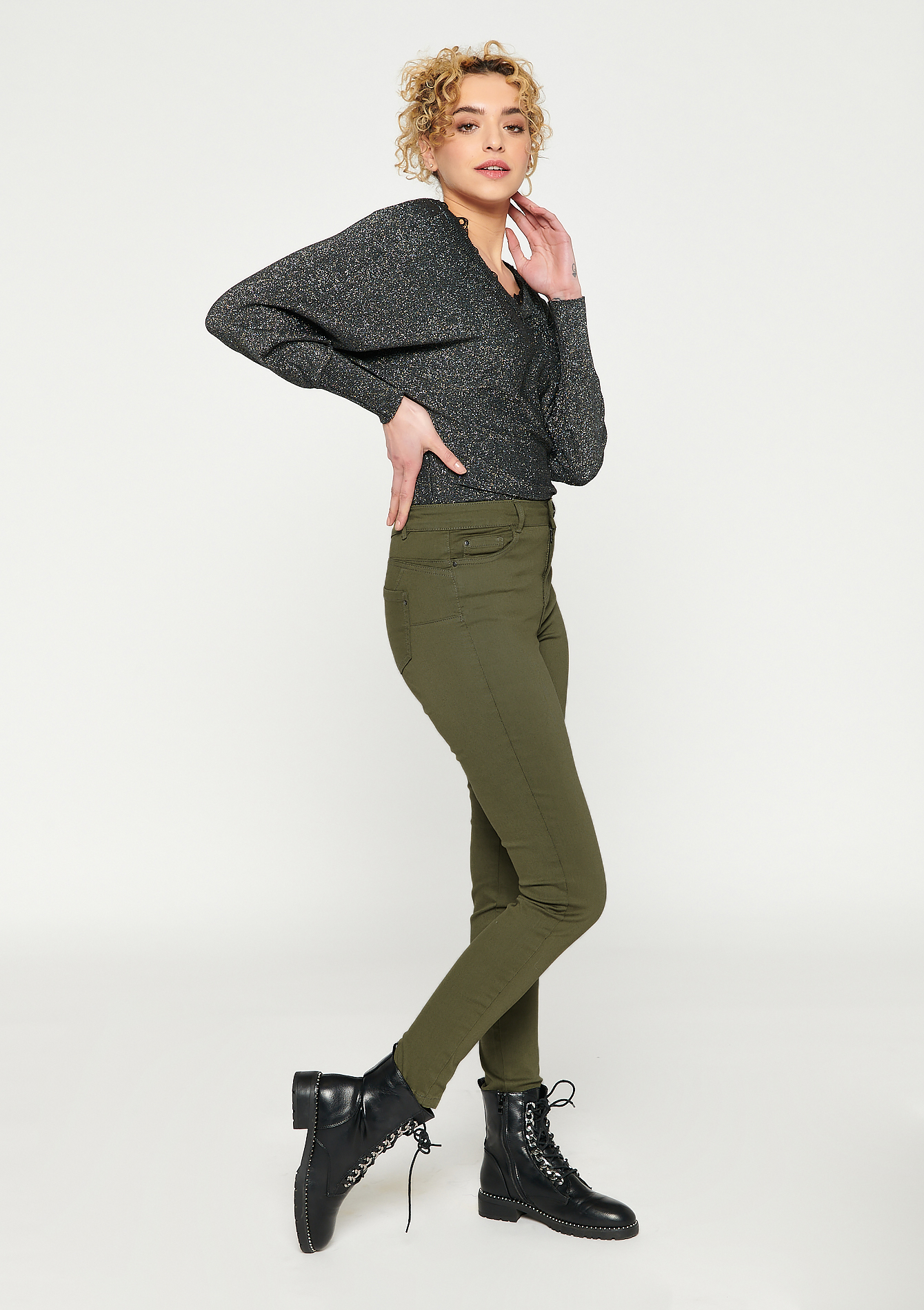 Skinny broek met push up - KHAKI REAL - 06004102_4301
