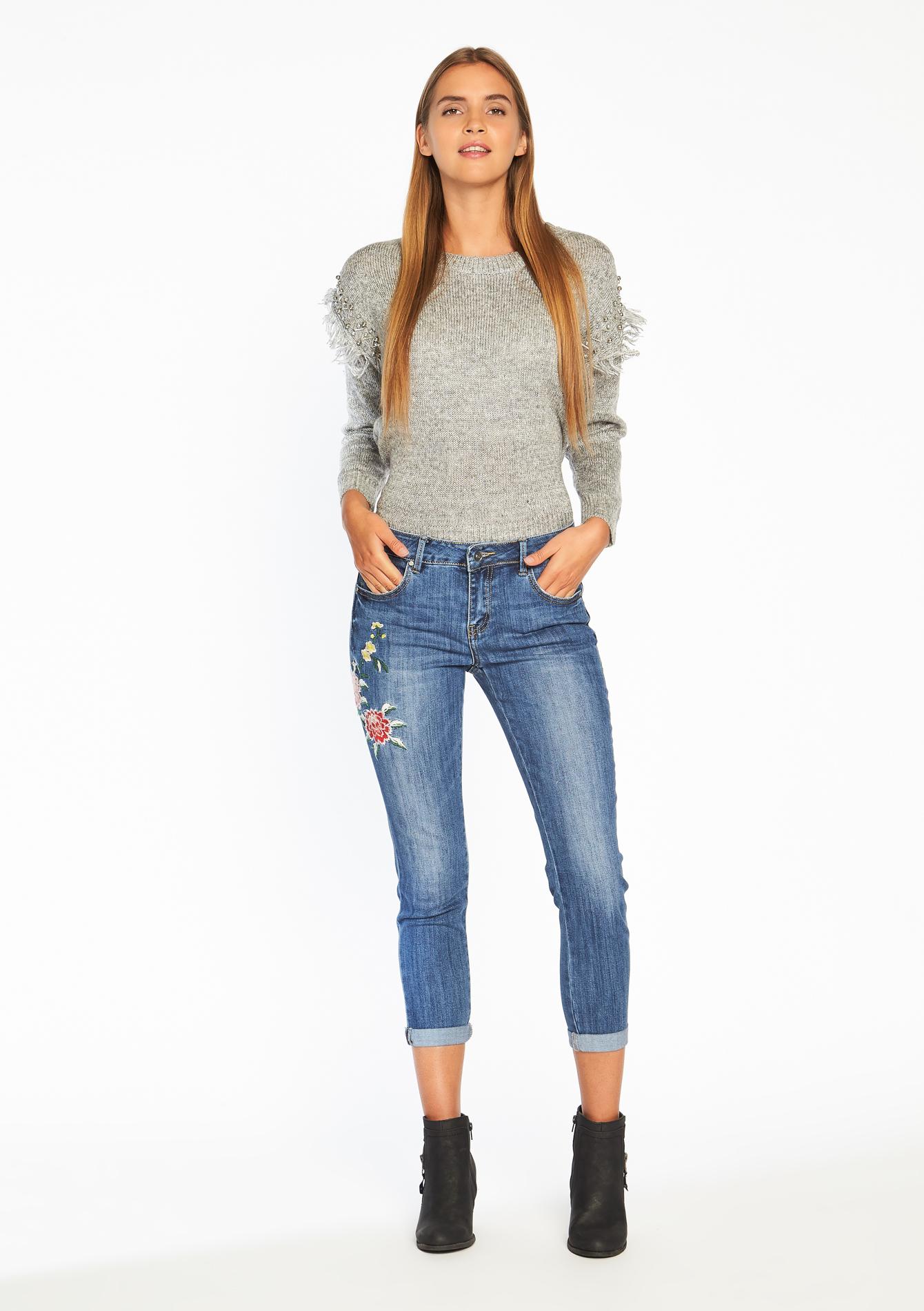 jeans skinny avec broderie lolaliza. Black Bedroom Furniture Sets. Home Design Ideas