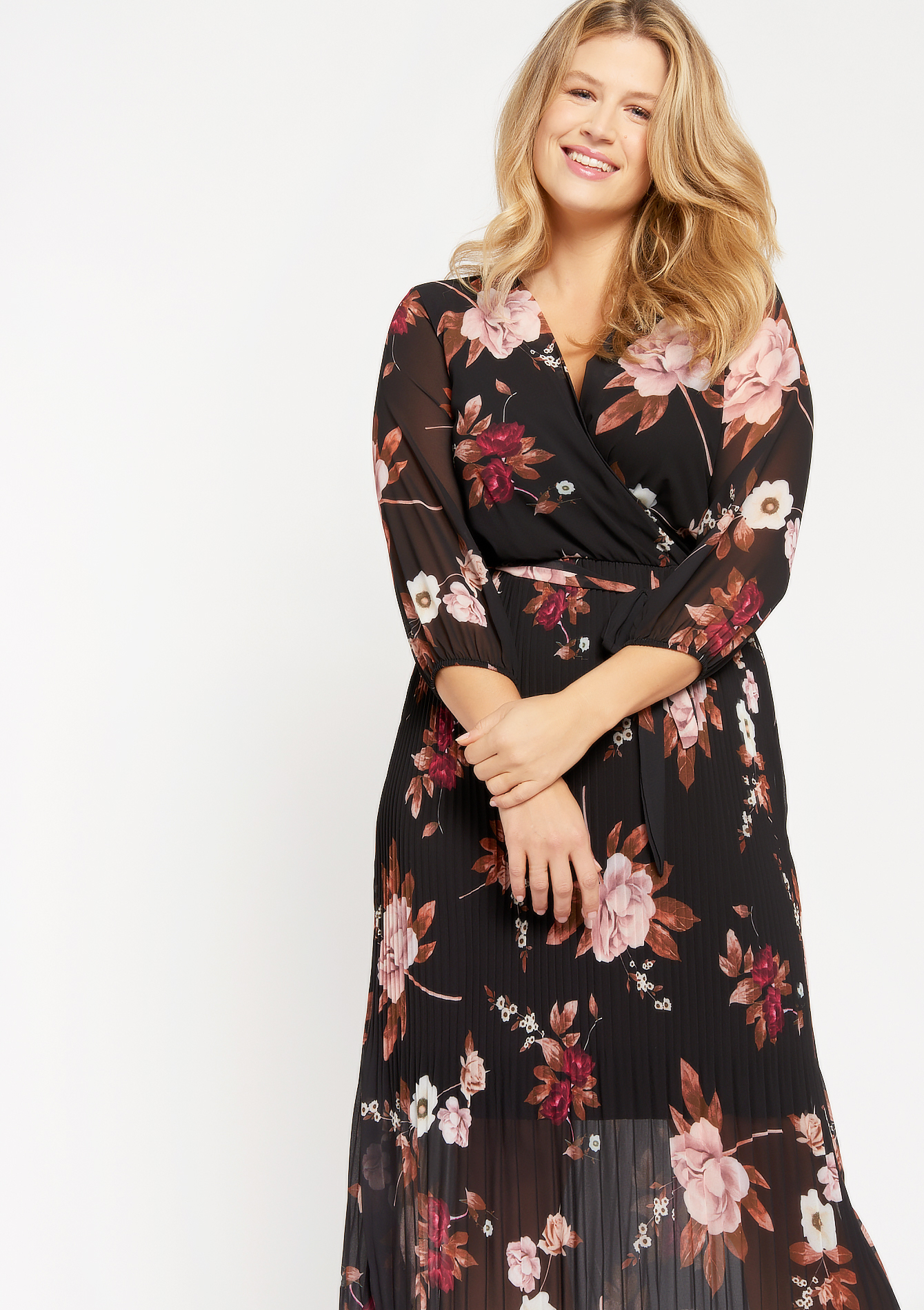 Floral midi dress with belt - BLACK BEAUTY - 08102347_2600