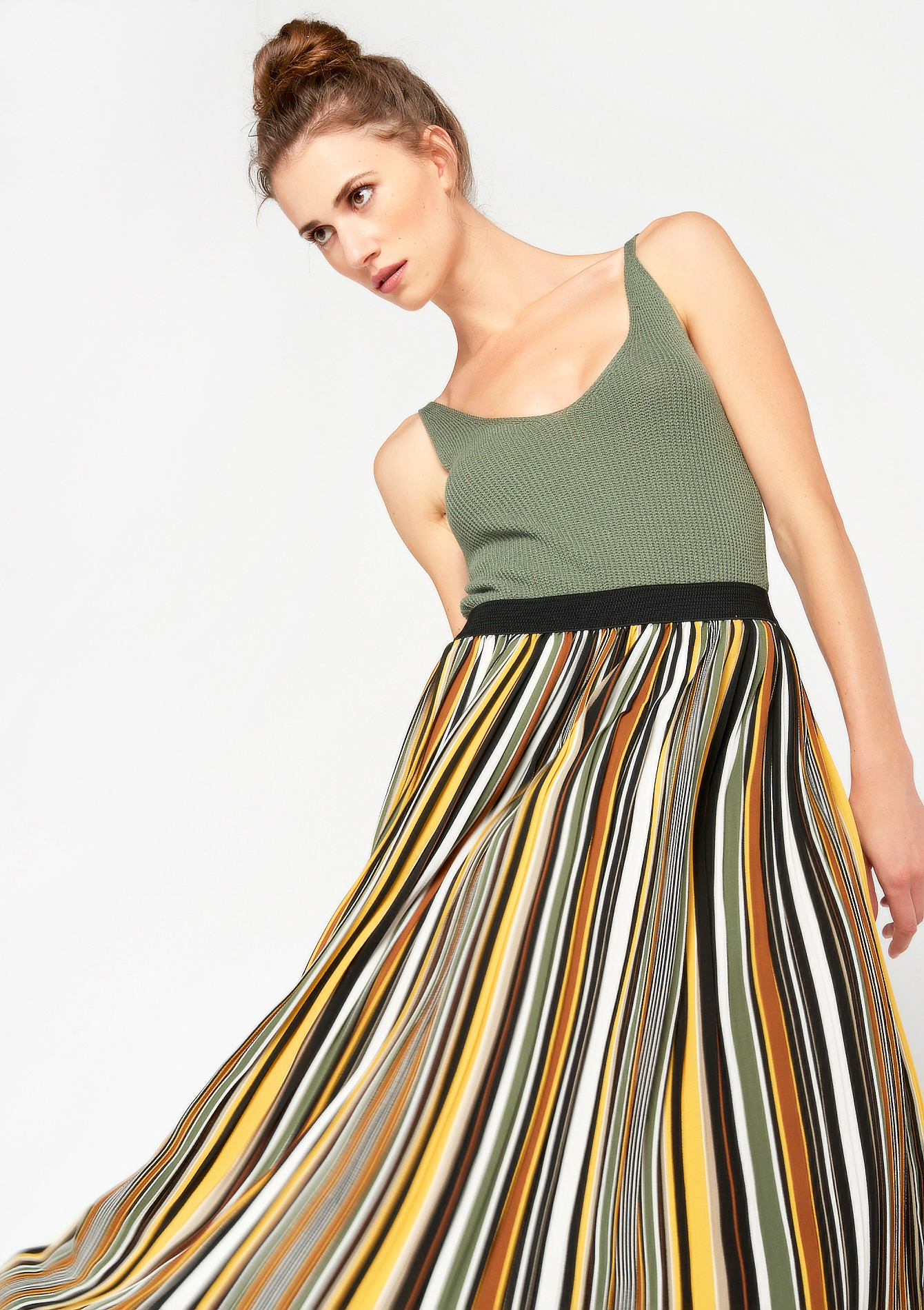 Lange plisse rok, gestreept