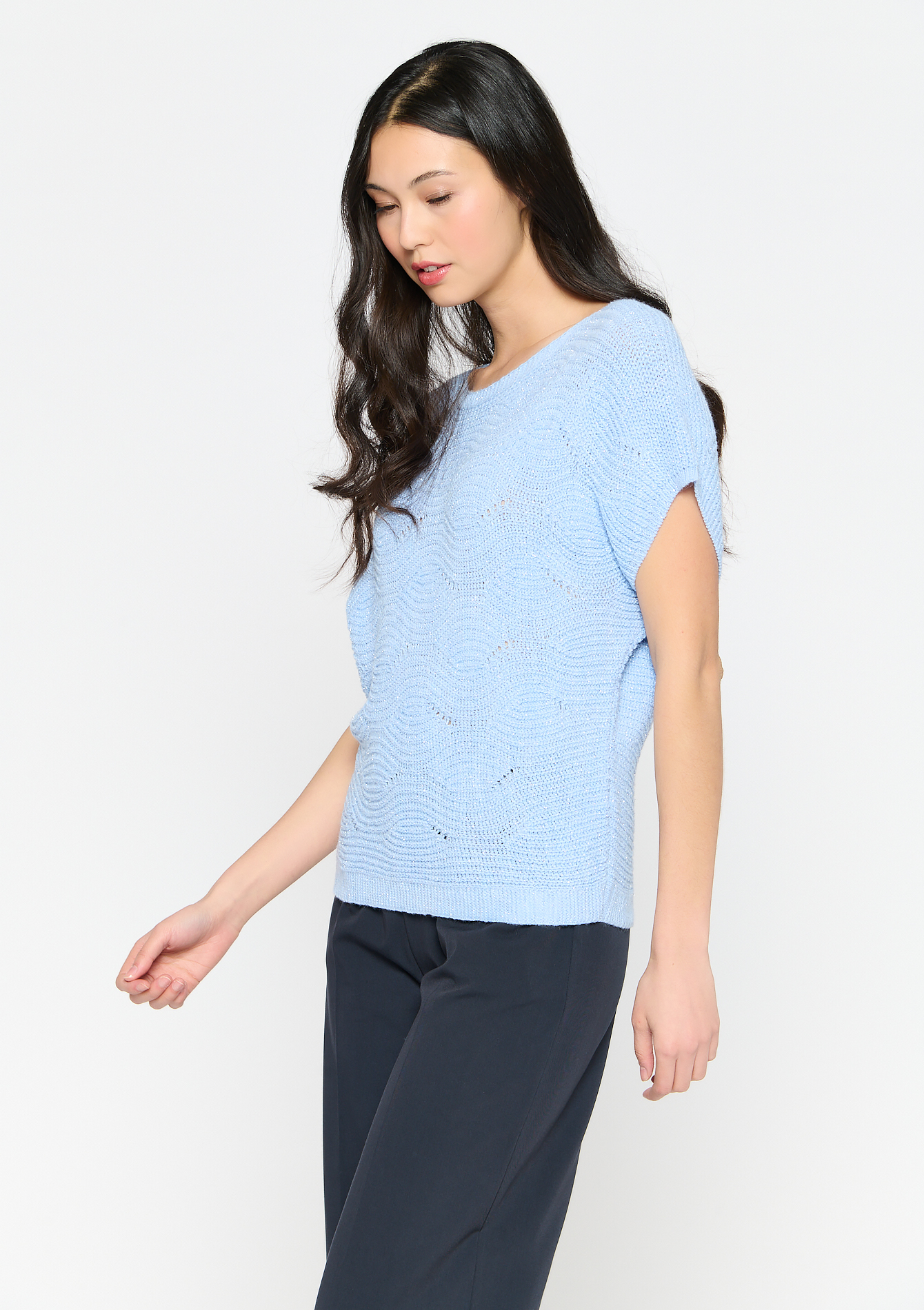 Gebreide tanktop met lurex - LIGHT BLUE - 04005605_1709