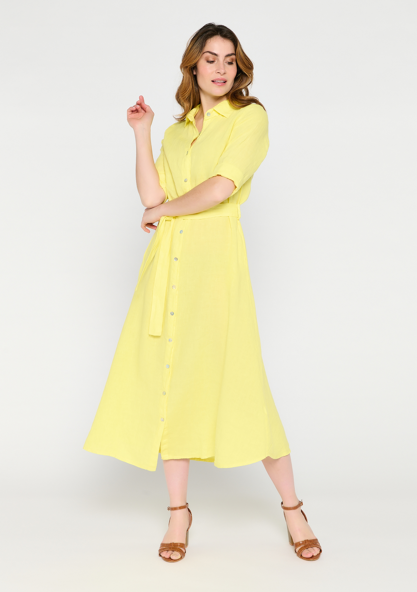 Maxi overhemd jurk met ceintuur - LIGHT YELLOW - 08601337_5002