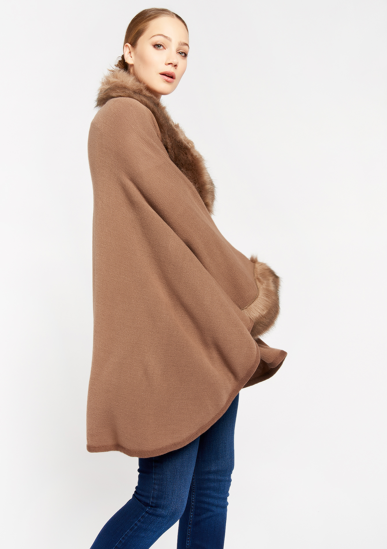 Poncho en fausse fourrure - TAUPE - 995534