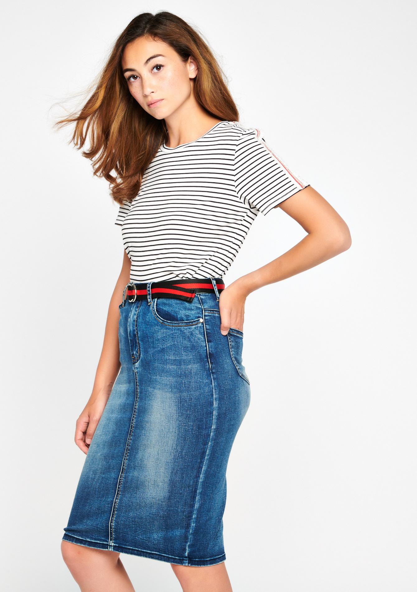 Halflange jeansrok