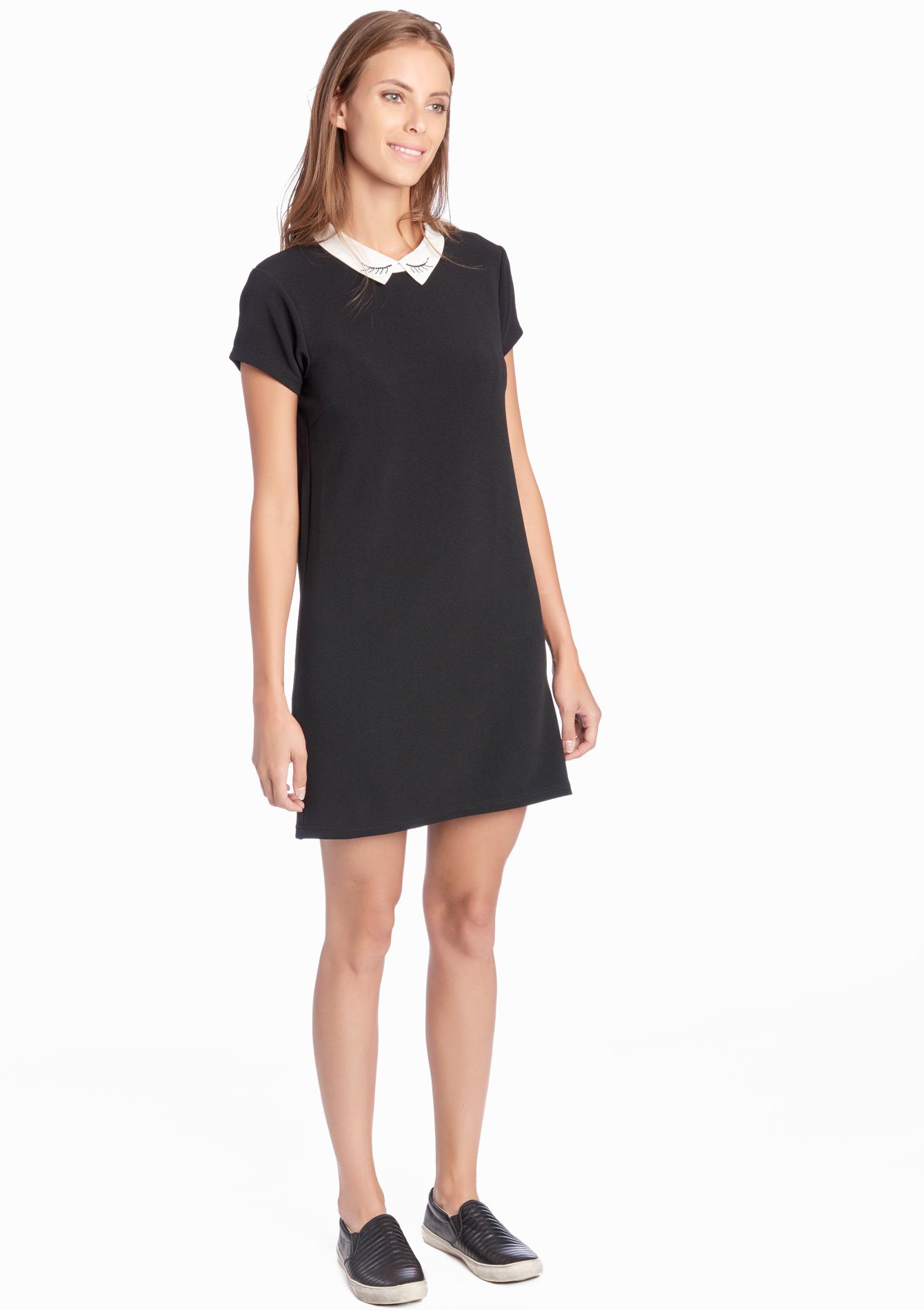 robe noir avec col claudine blanc les meilleures robes de france. Black Bedroom Furniture Sets. Home Design Ideas