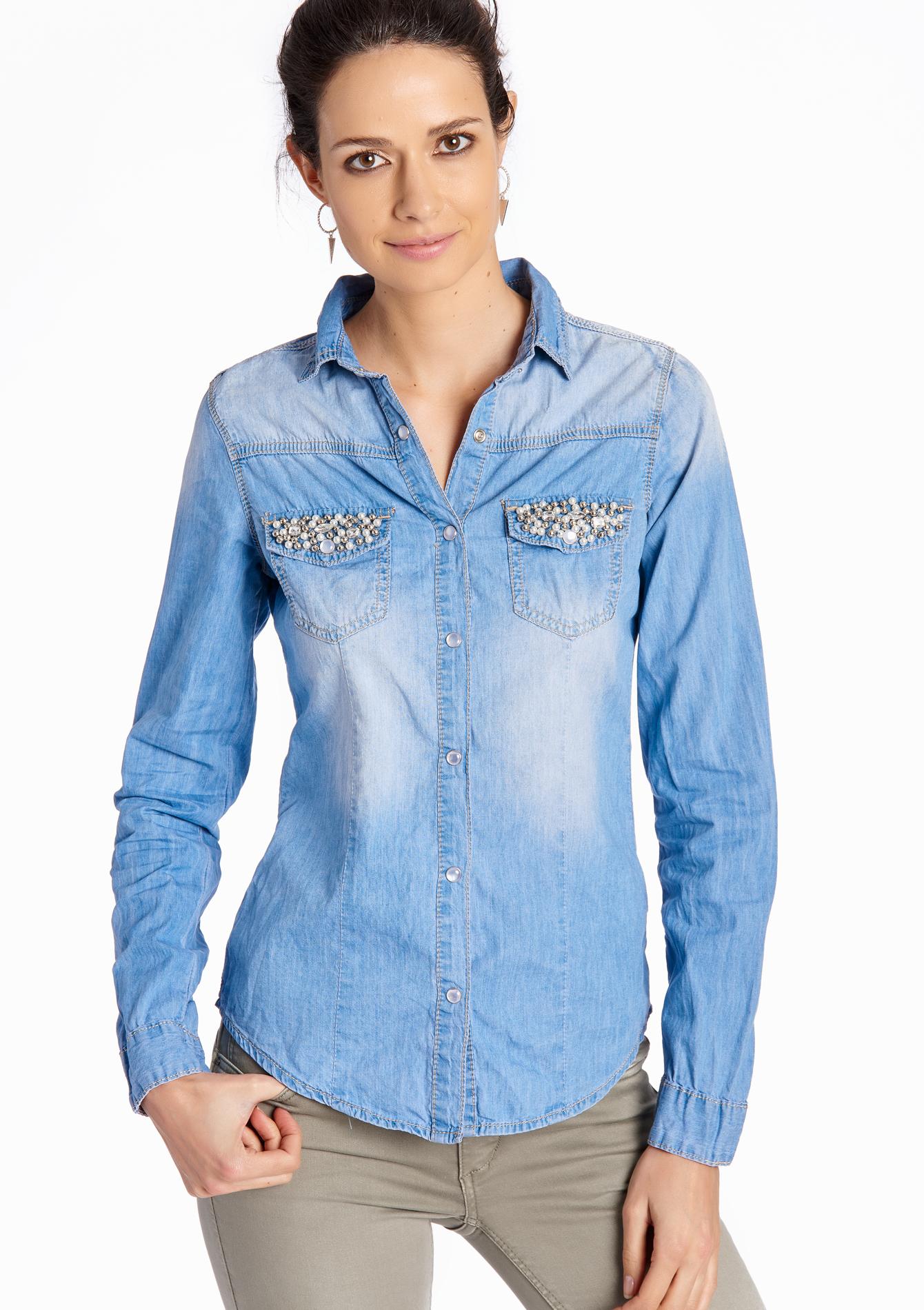 Jeans hemd met strass lolaliza for Jeanshemd lang