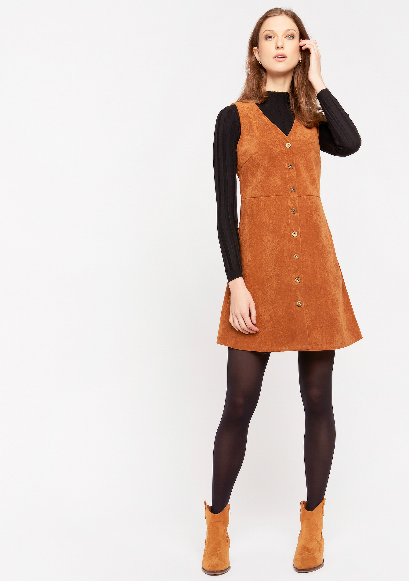 Mini jurk met ribfluweel - TOFFEE BROWN - 978518