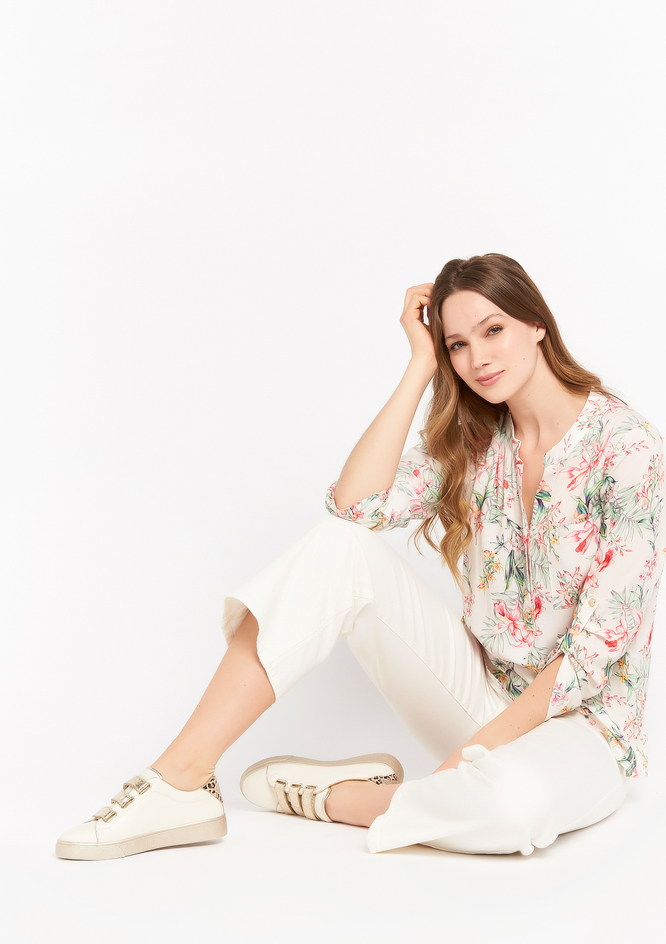 Blouse met tropische print - NATURAL WHITE - 05701641_2510