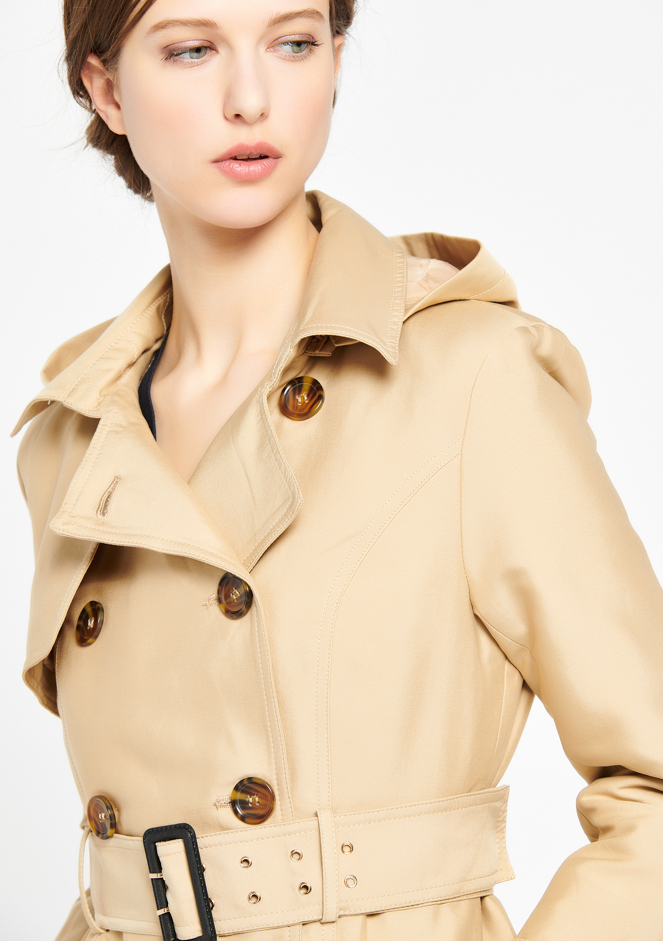 Double breasted trench coat - CAMEL ALMOND - 23000096_3807