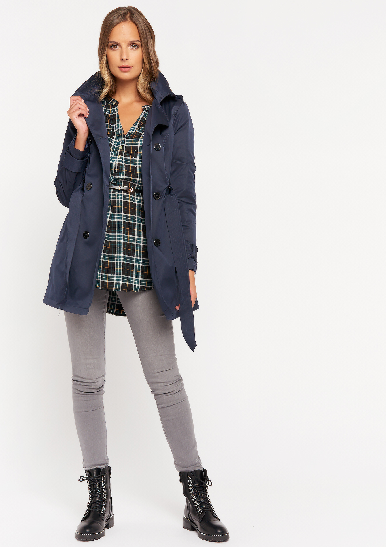 Trench coat with hood - NAVY BLUE - 23000254_1651